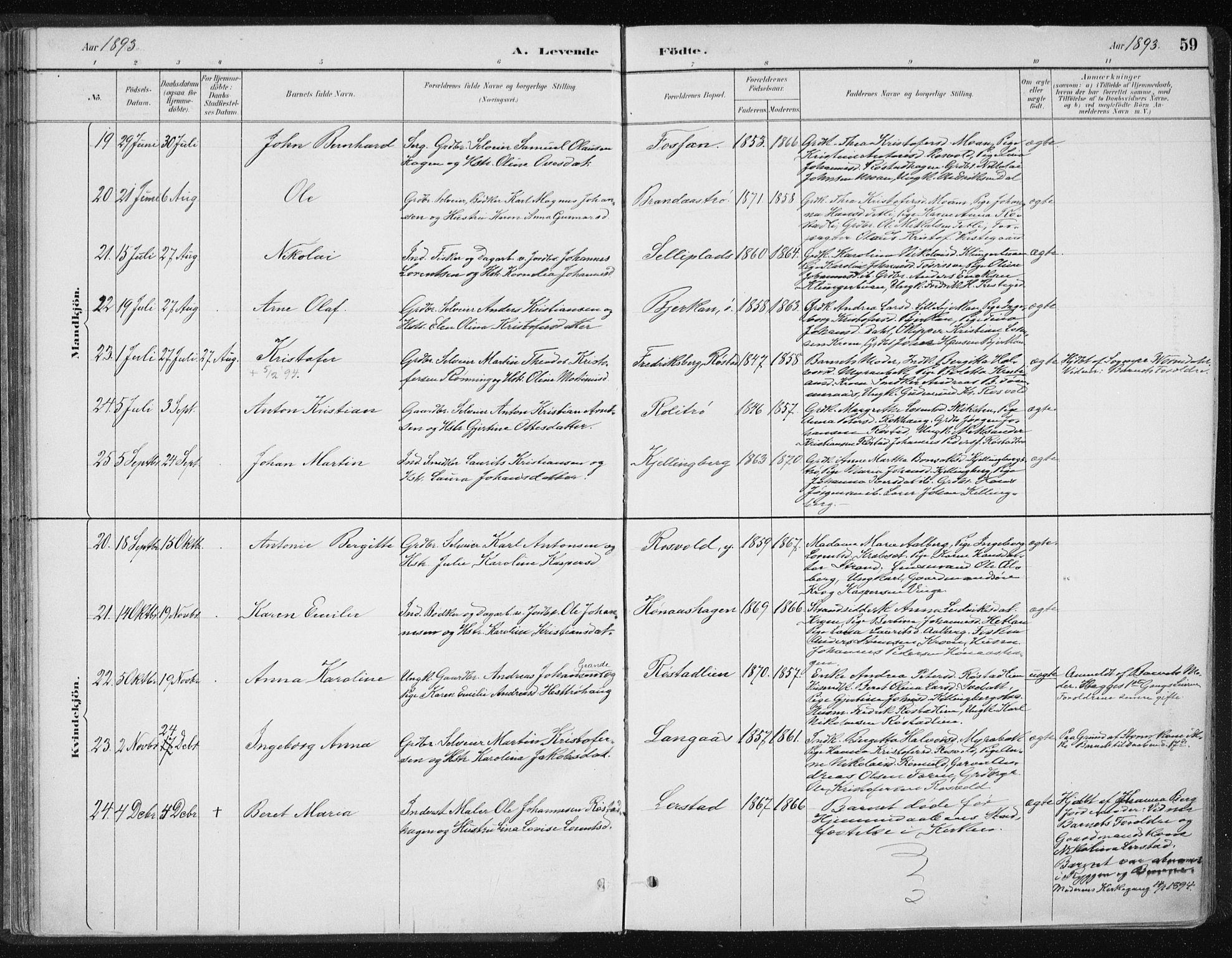 SAT, Ministerialprotokoller, klokkerbøker og fødselsregistre - Nord-Trøndelag, 701/L0010: Ministerialbok nr. 701A10, 1883-1899, s. 59