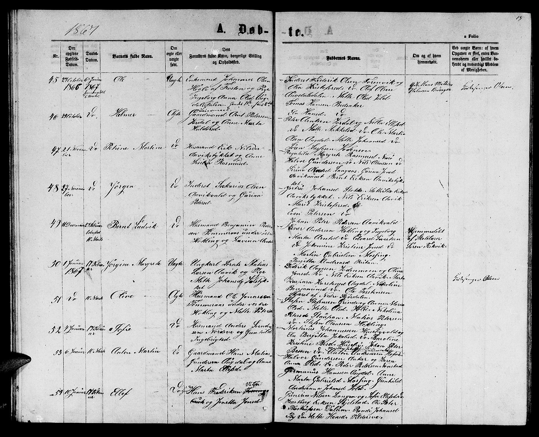 SAT, Ministerialprotokoller, klokkerbøker og fødselsregistre - Nord-Trøndelag, 714/L0133: Klokkerbok nr. 714C02, 1865-1877, s. 13