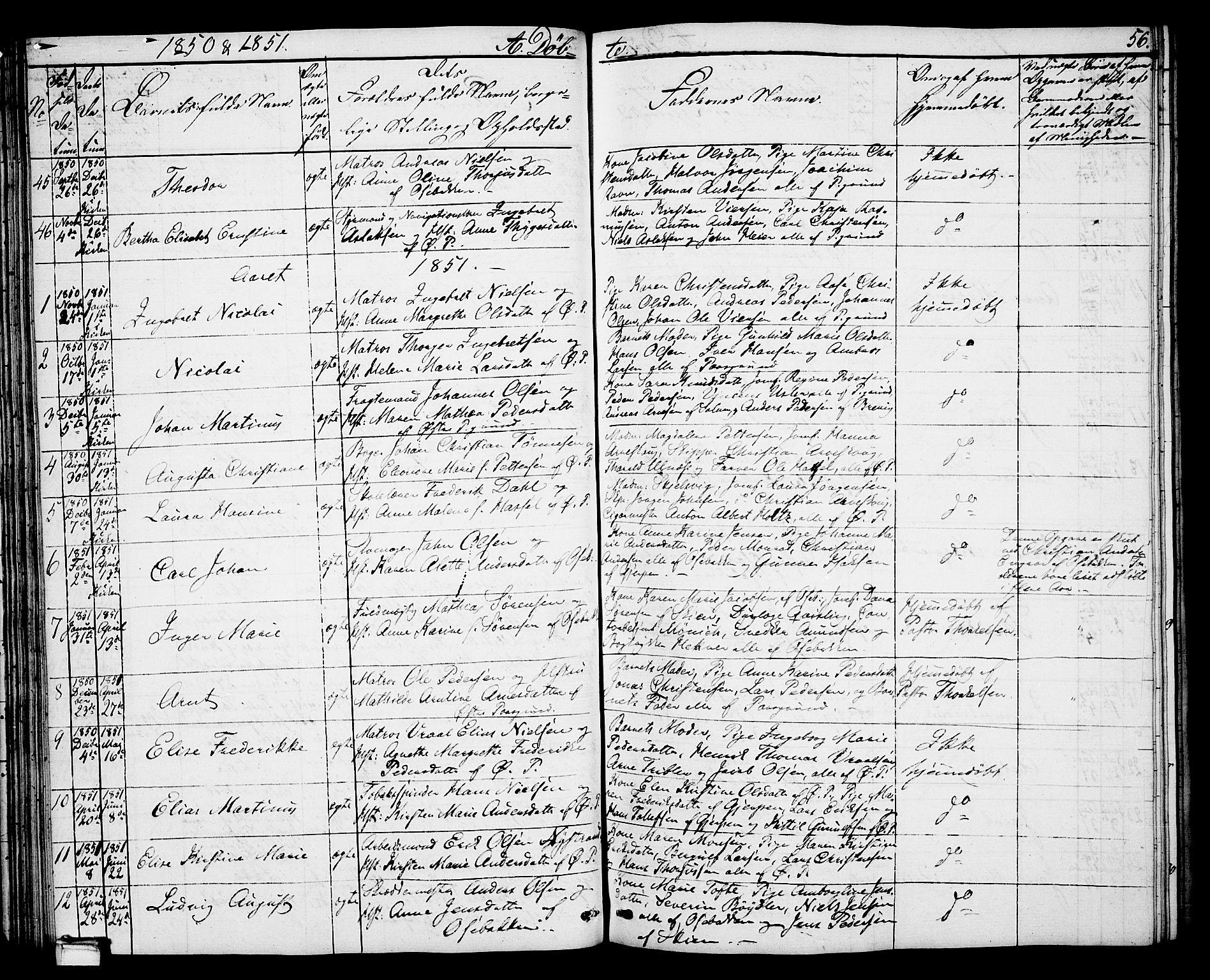 SAKO, Porsgrunn kirkebøker , G/Gb/L0003: Klokkerbok nr. II 3, 1841-1852, s. 56