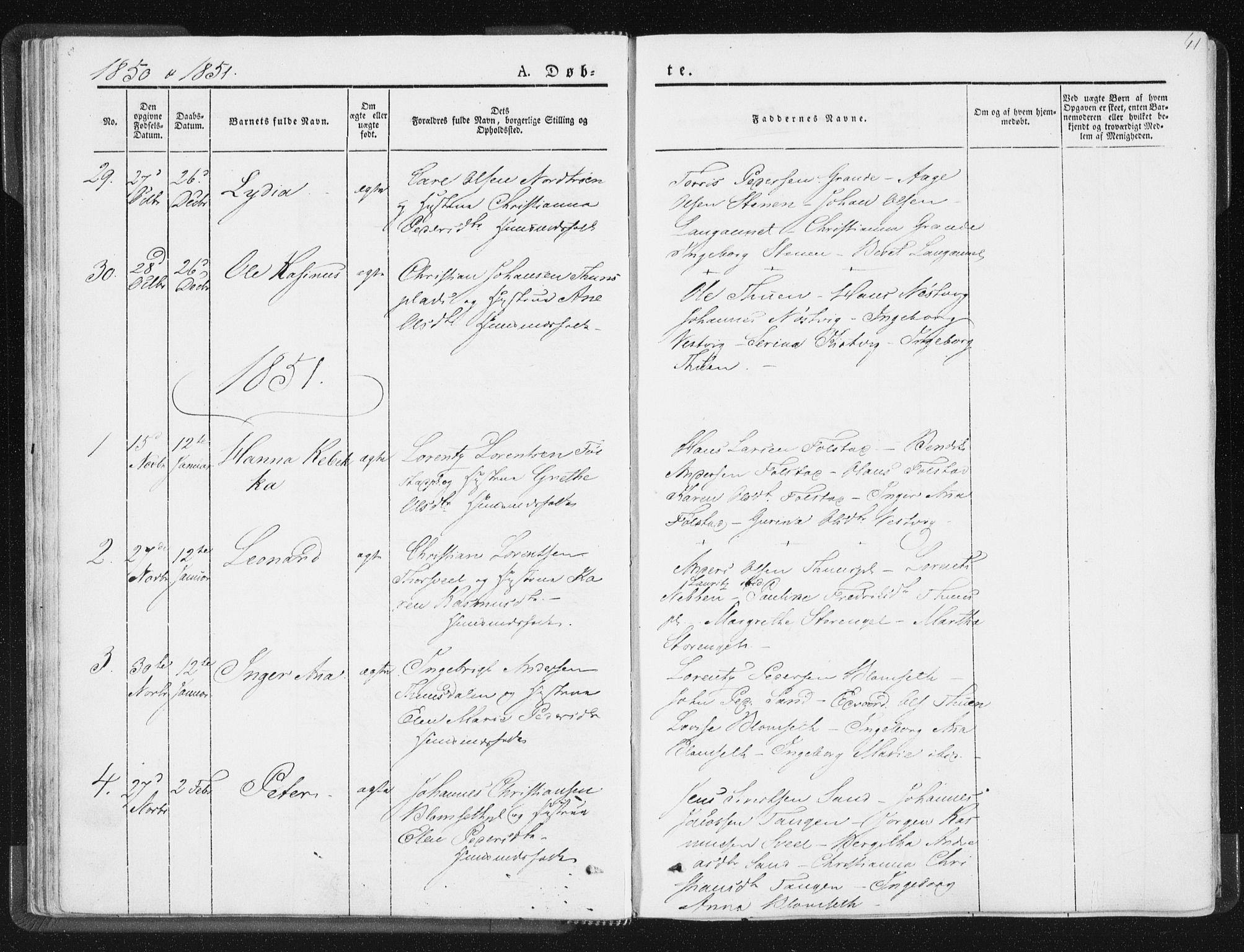 SAT, Ministerialprotokoller, klokkerbøker og fødselsregistre - Nord-Trøndelag, 744/L0418: Ministerialbok nr. 744A02, 1843-1866, s. 41