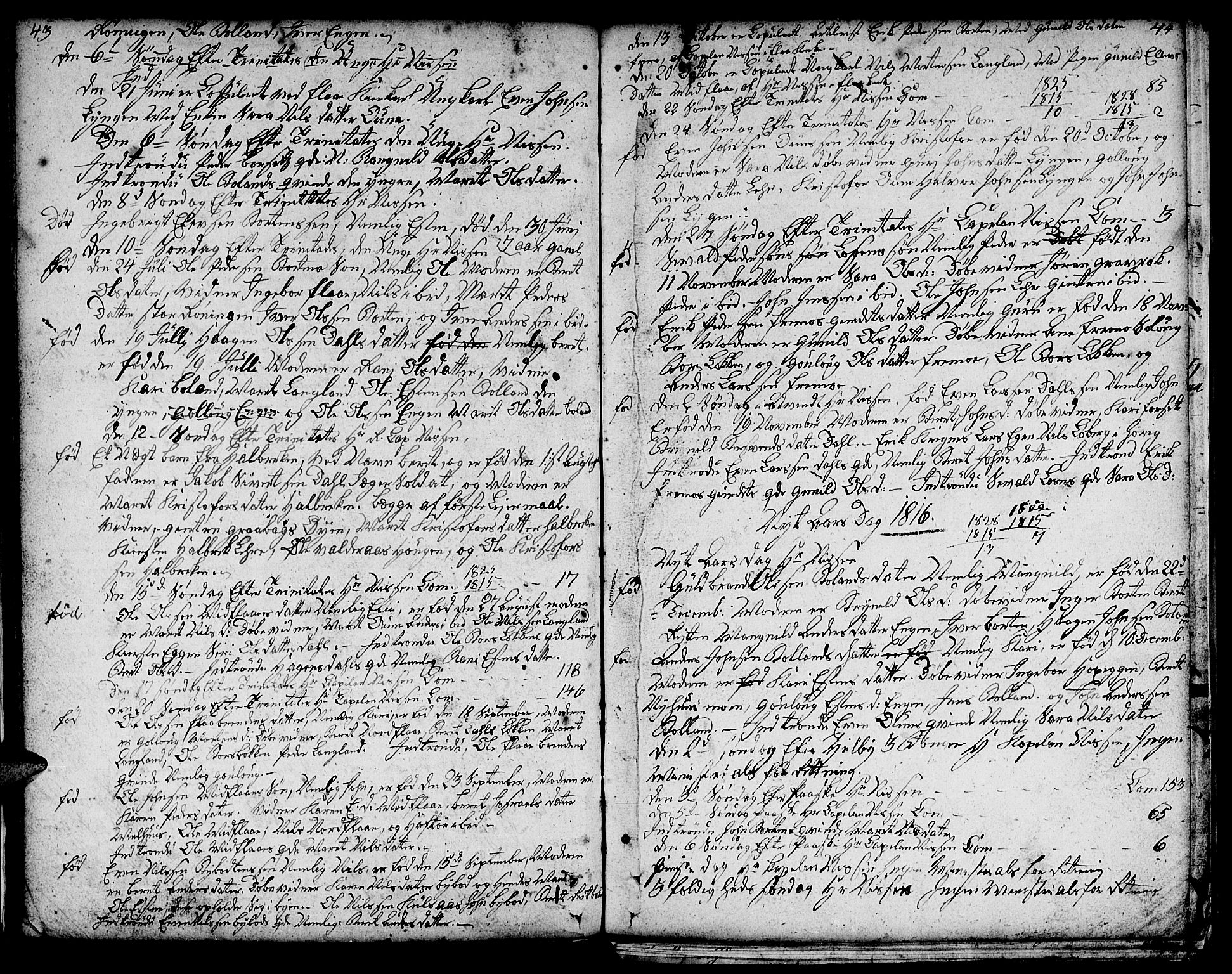 SAT, Ministerialprotokoller, klokkerbøker og fødselsregistre - Sør-Trøndelag, 693/L1120: Klokkerbok nr. 693C01, 1799-1816, s. 43-44