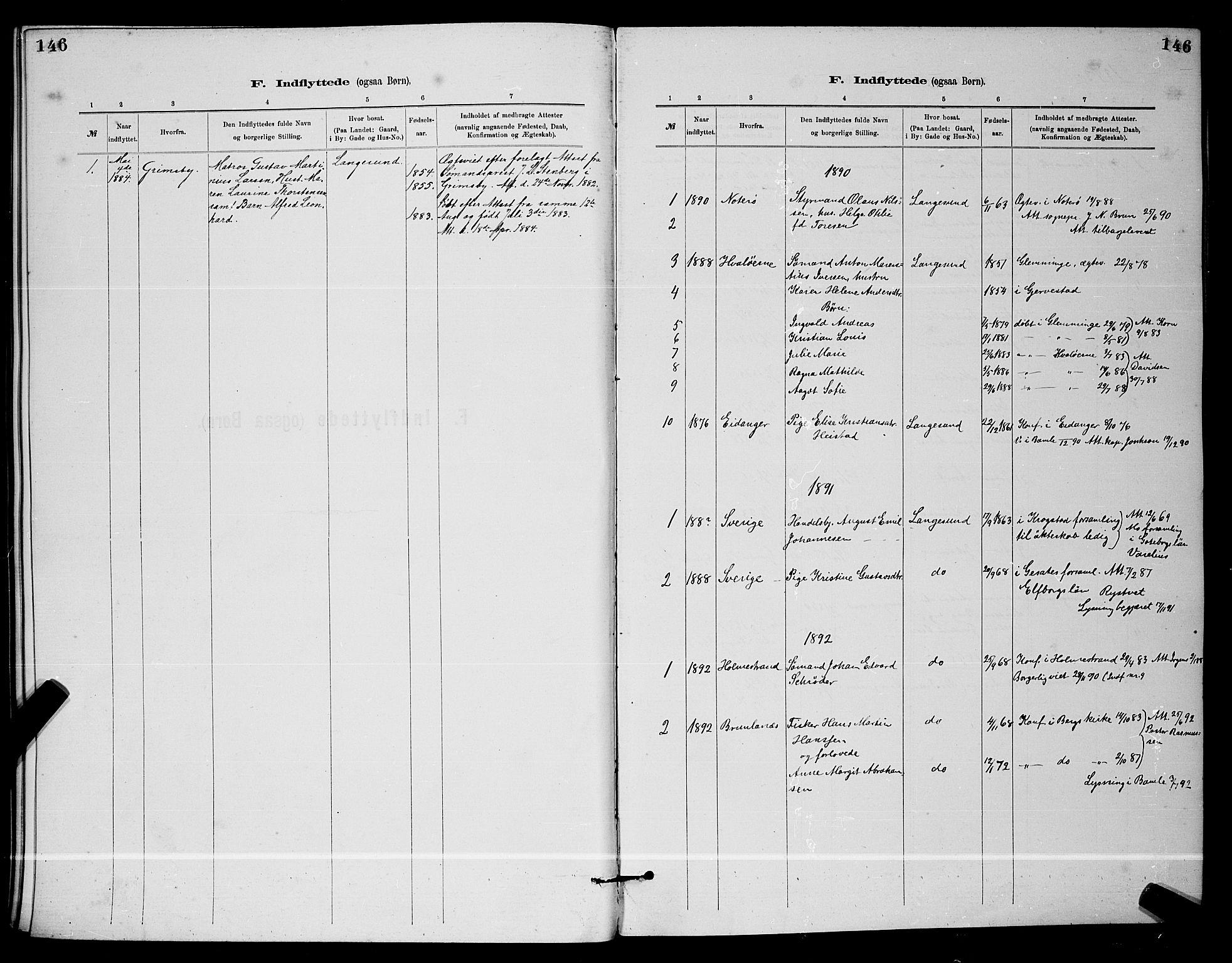 SAKO, Langesund kirkebøker, G/Ga/L0005: Klokkerbok nr. 5, 1884-1898, s. 146