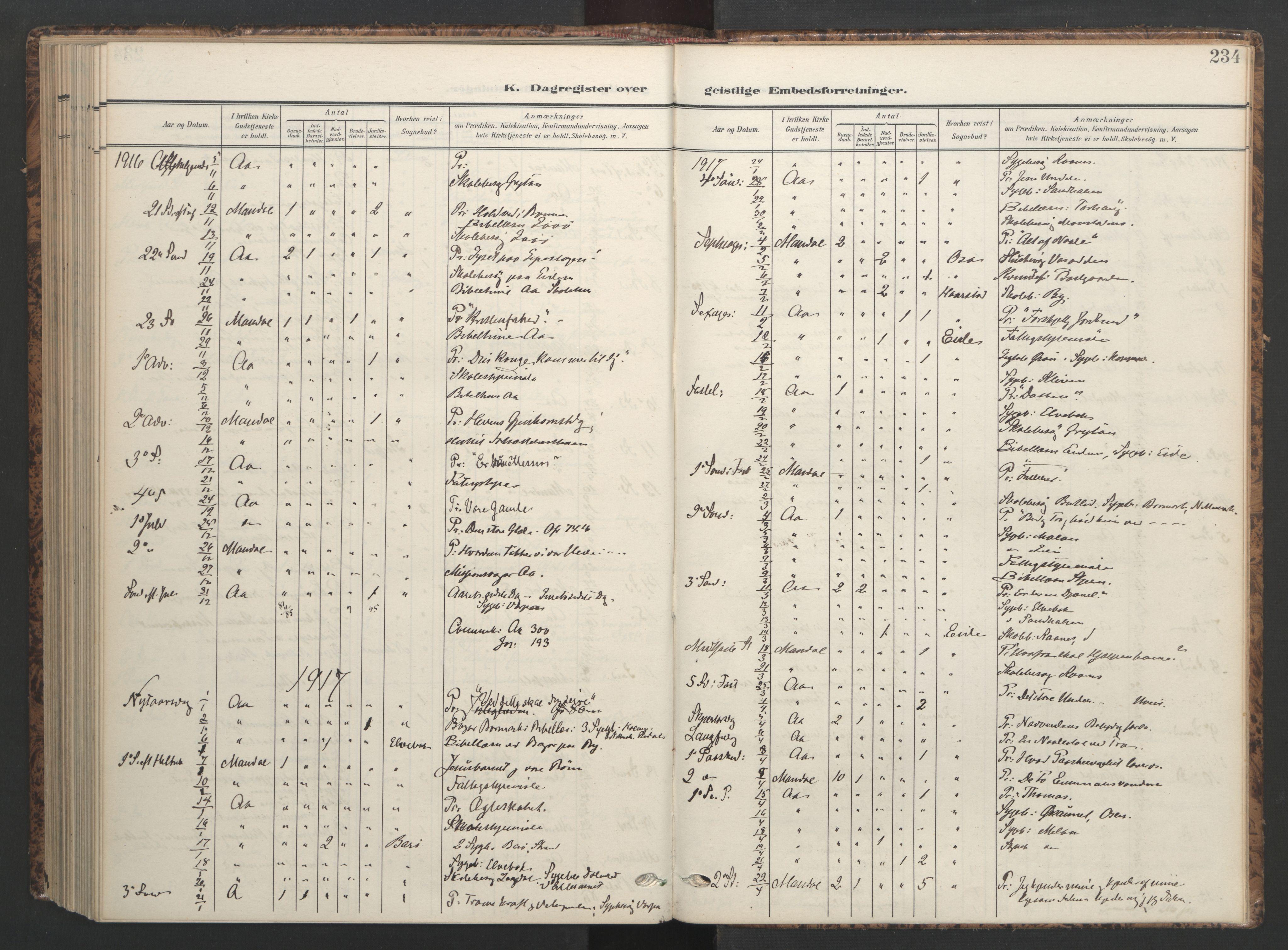 SAT, Ministerialprotokoller, klokkerbøker og fødselsregistre - Sør-Trøndelag, 655/L0682: Ministerialbok nr. 655A11, 1908-1922, s. 234