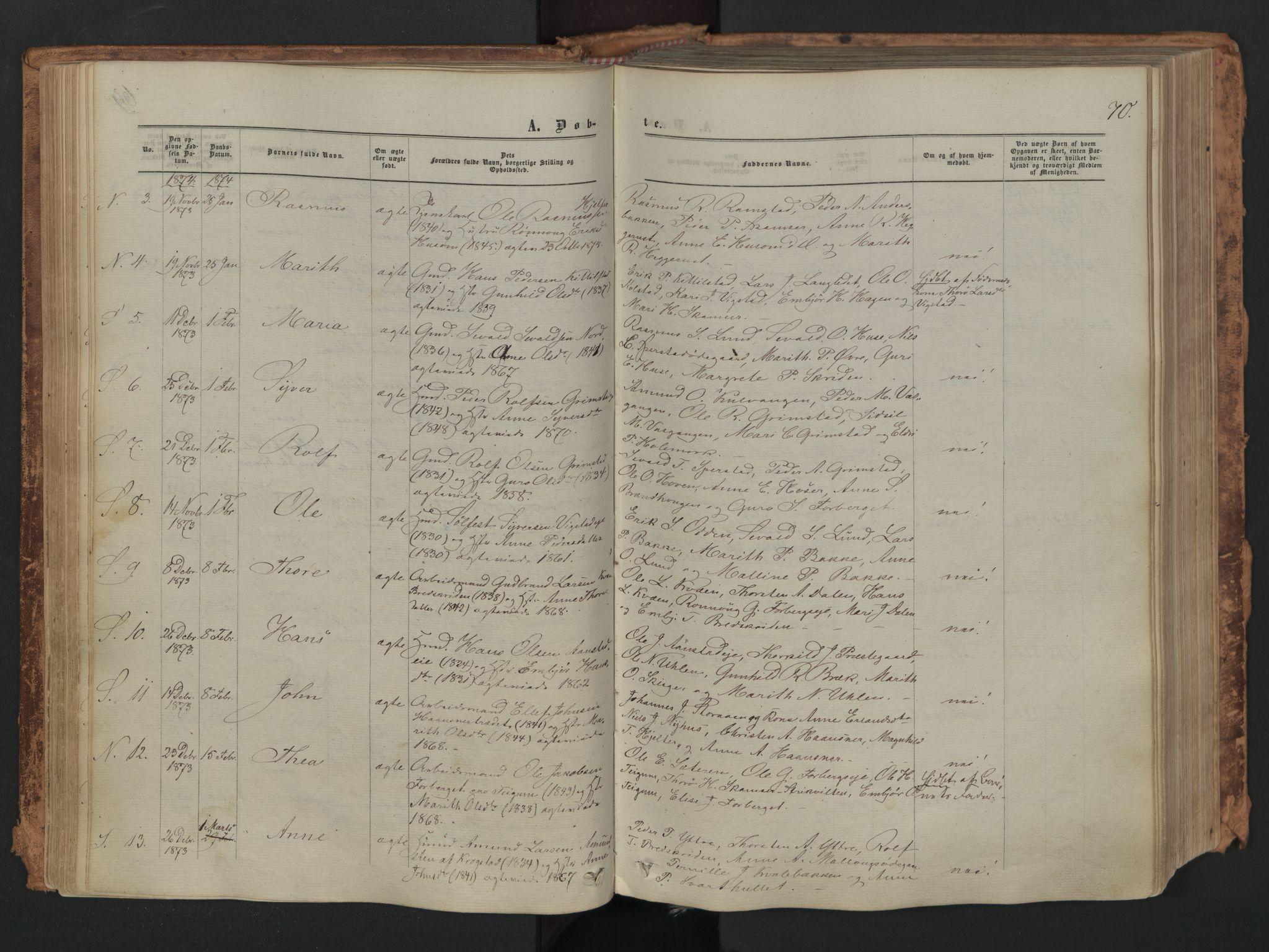 SAH, Skjåk prestekontor, Ministerialbok nr. 1, 1863-1879, s. 70