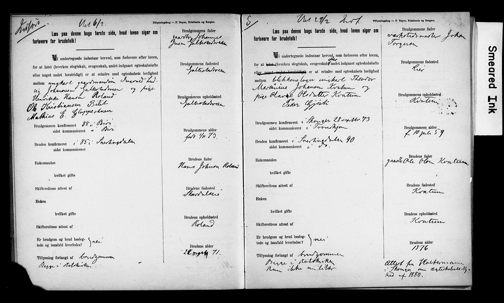 SAH, Biri prestekontor, I/Ie/Iea/L0001/0001: Lysningsprotokoll nr. 1.1, 1892-1896