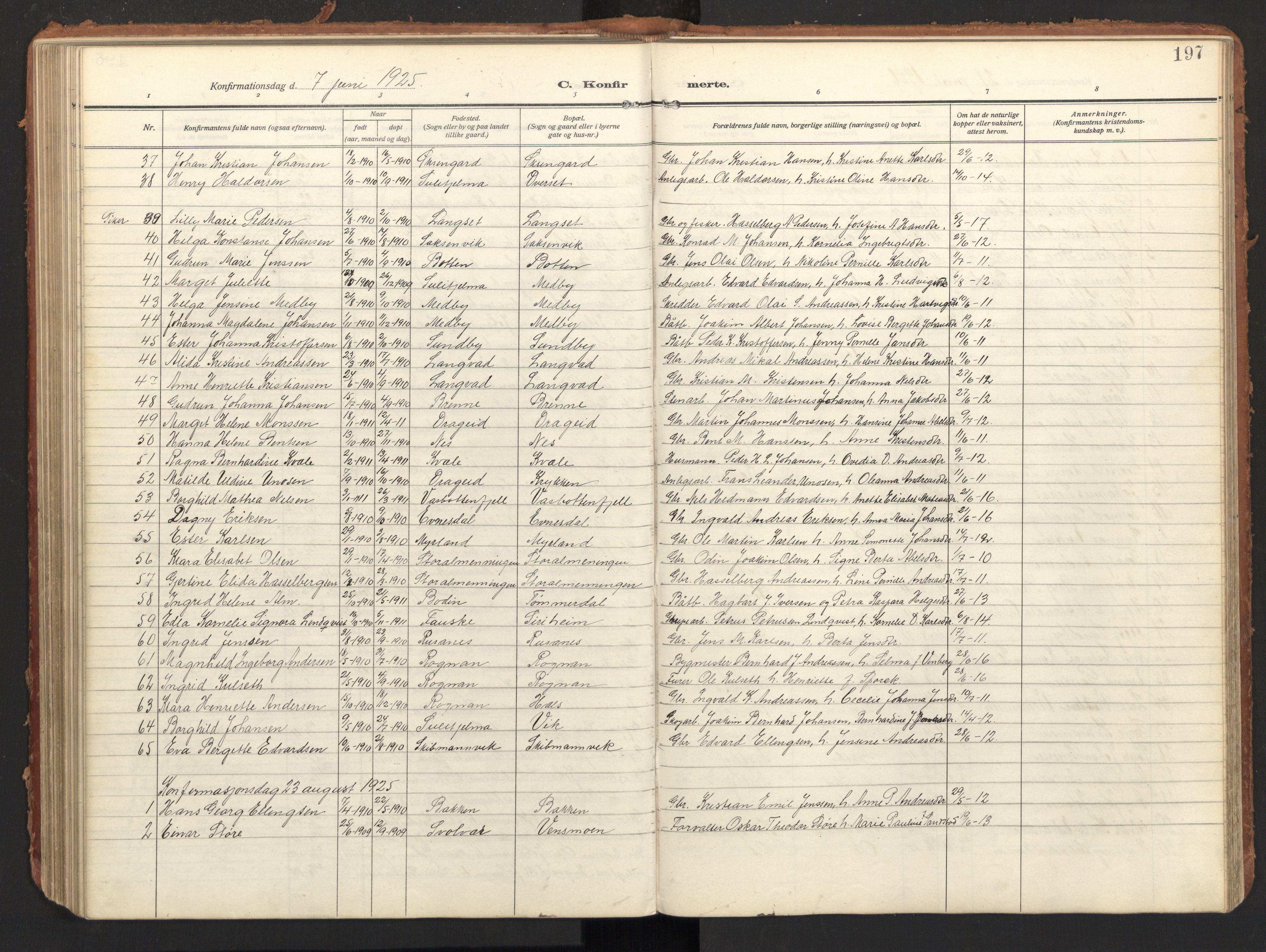 SAT, Ministerialprotokoller, klokkerbøker og fødselsregistre - Nordland, 847/L0683: Klokkerbok nr. 847C11, 1908-1929, s. 197