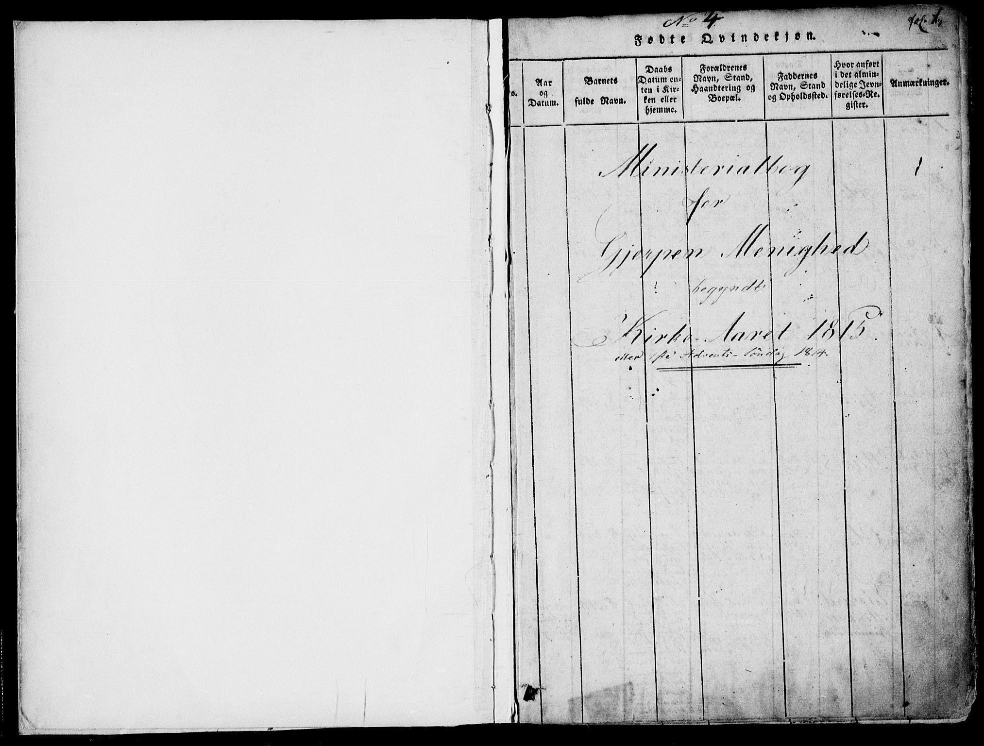 SAKO, Gjerpen kirkebøker, F/Fa/L0004: Ministerialbok nr. 4, 1814-1823, s. 1