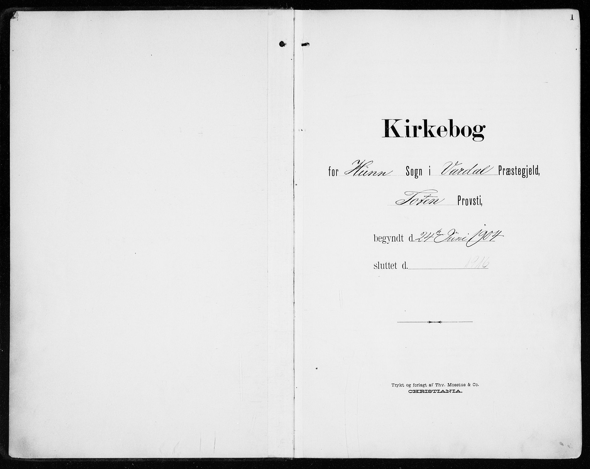SAH, Vardal prestekontor, H/Ha/Haa/L0016: Ministerialbok nr. 16, 1904-1916, s. 1