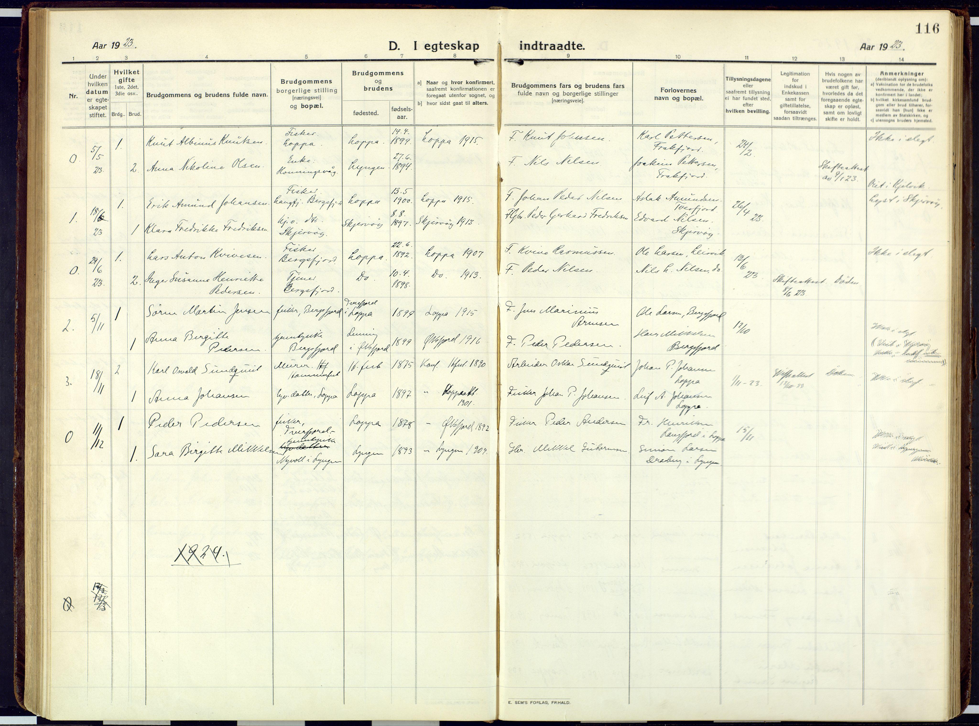 SATØ, Loppa sokneprestkontor, H/Ha/L0013kirke: Ministerialbok nr. 13, 1920-1932, s. 116