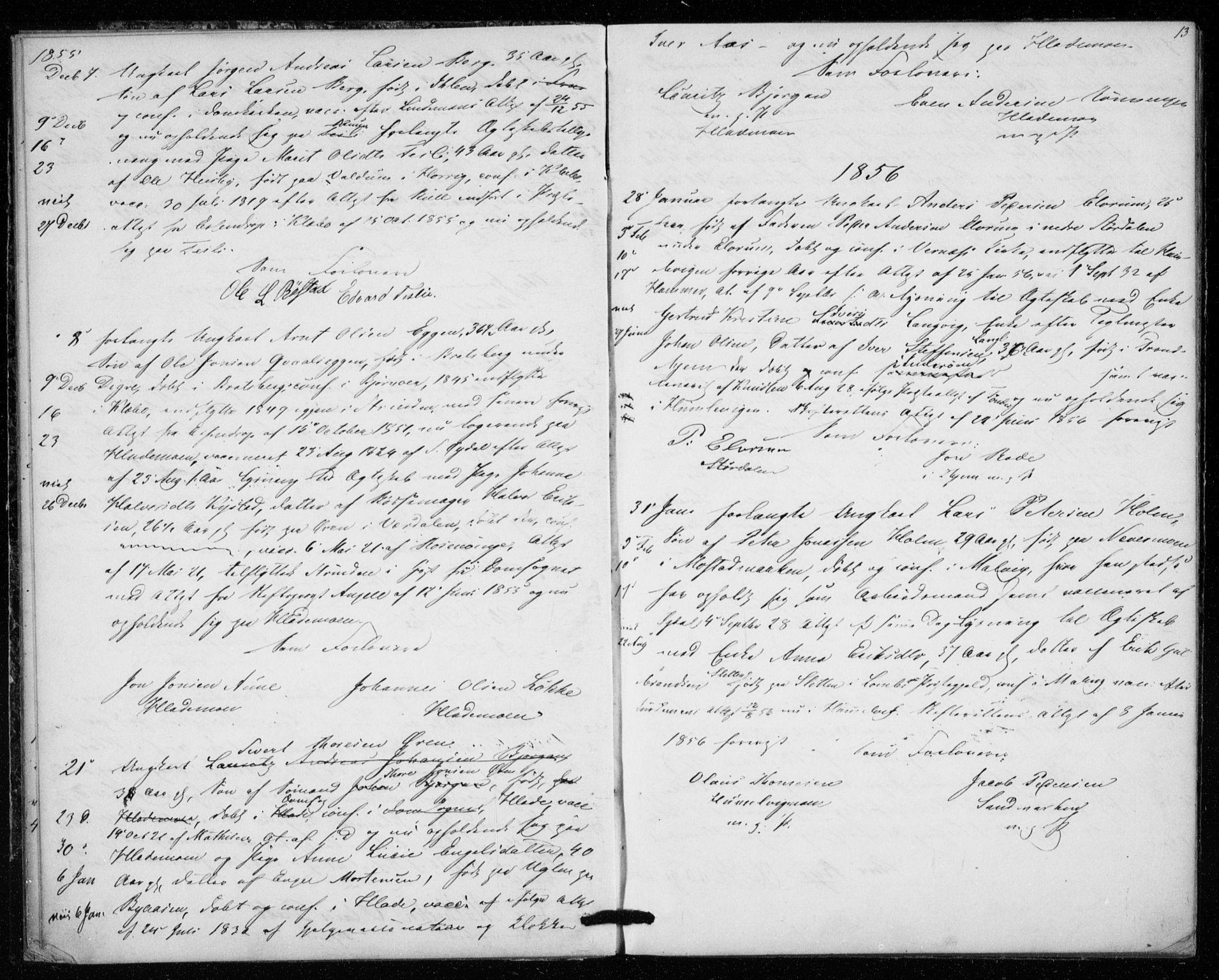 SAT, Ministerialprotokoller, klokkerbøker og fødselsregistre - Sør-Trøndelag, 606/L0297: Lysningsprotokoll nr. 606A12, 1854-1861, s. 13