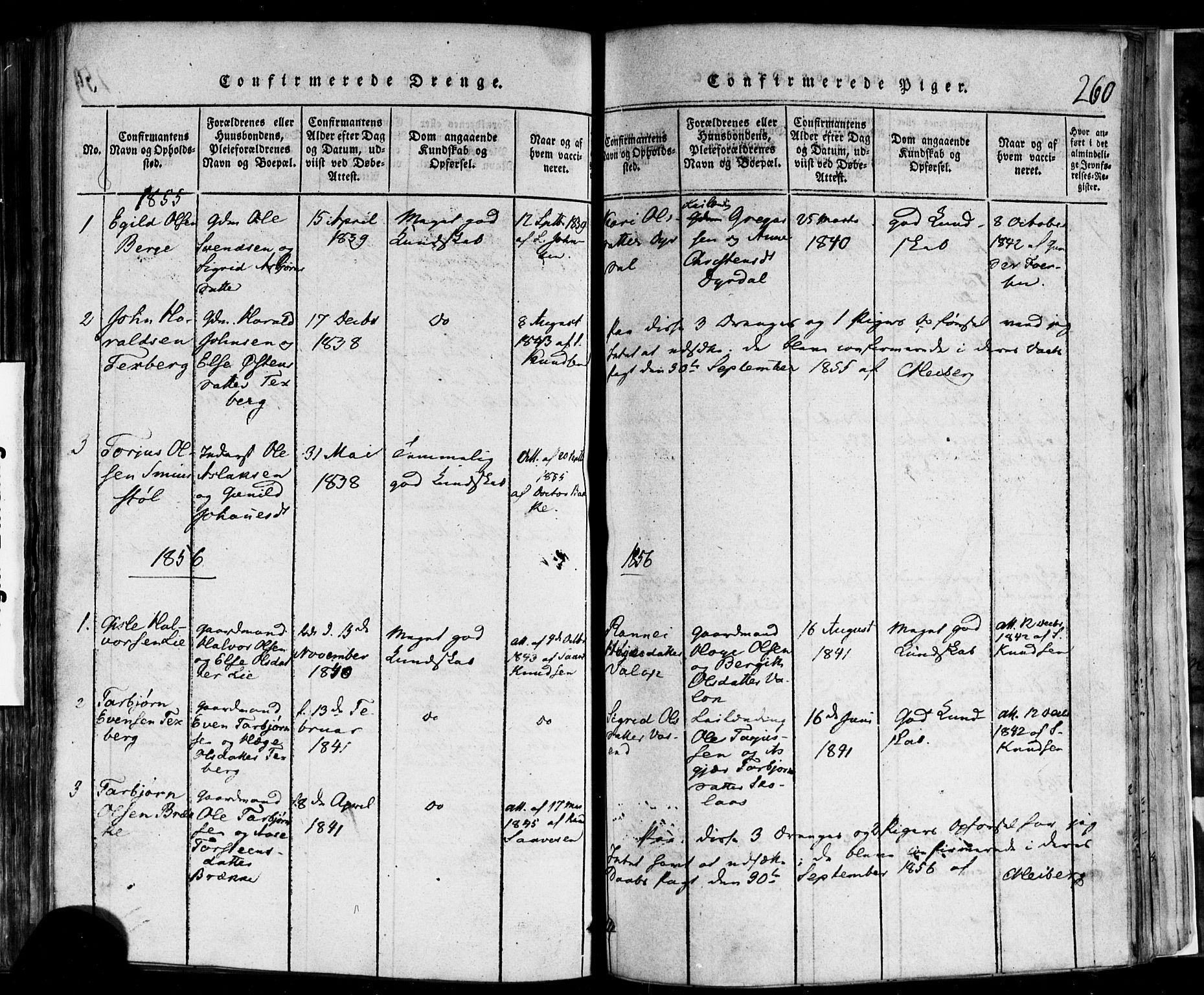 SAKO, Rauland kirkebøker, F/Fa/L0002: Ministerialbok nr. 2, 1815-1860, s. 260