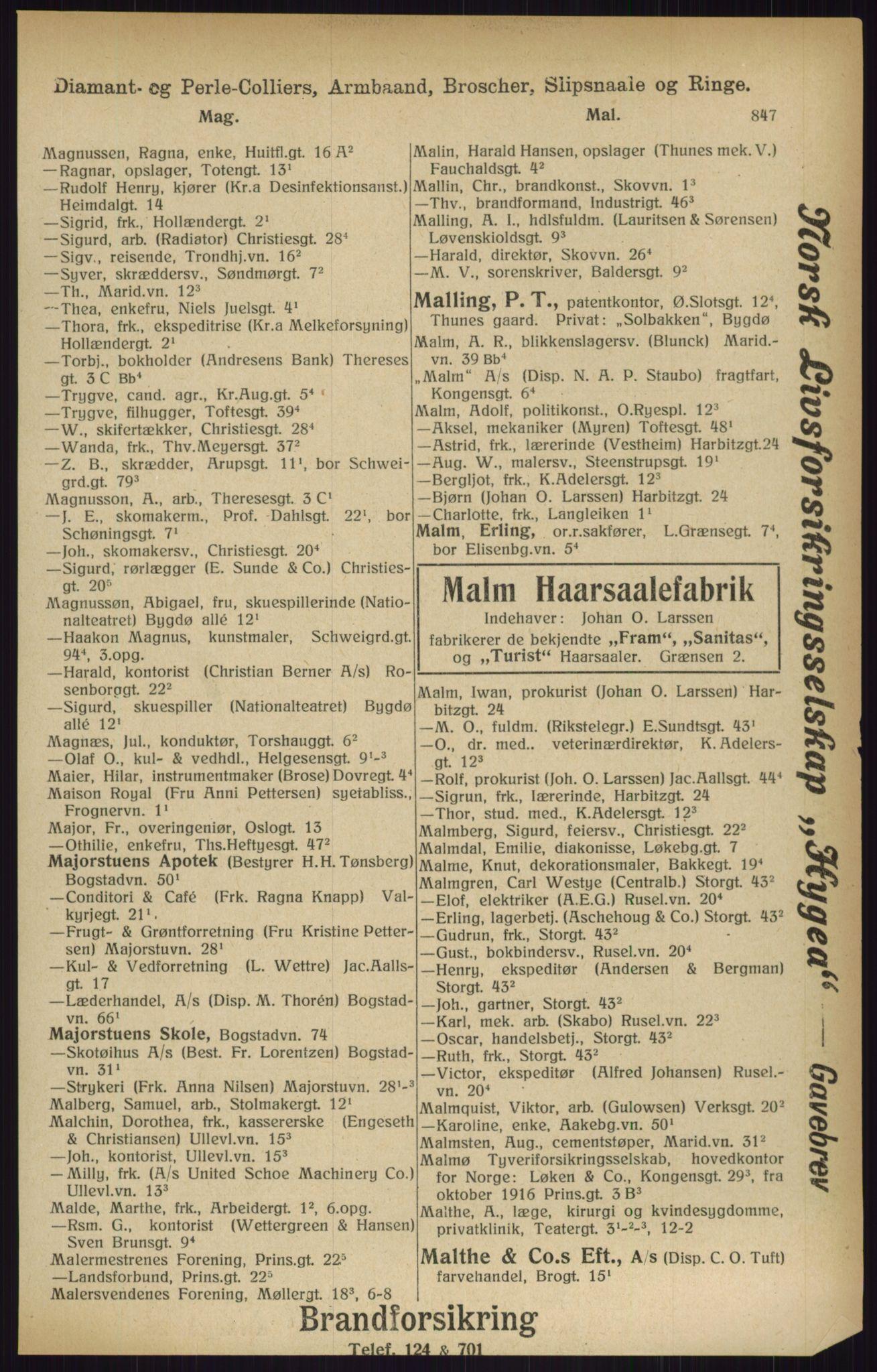 PUBL, Kristiania/Oslo adressebok, 1916, s. 847
