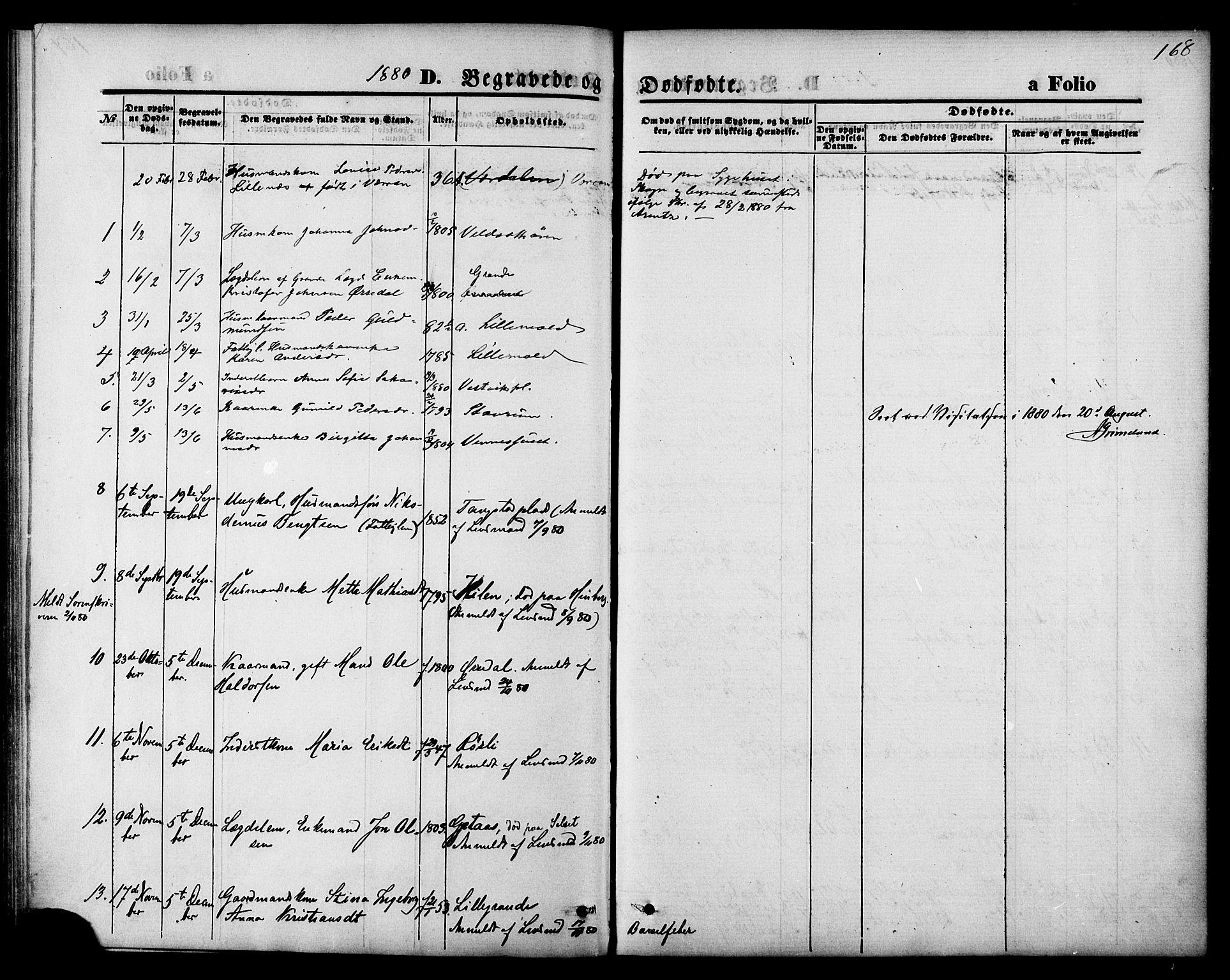 SAT, Ministerialprotokoller, klokkerbøker og fødselsregistre - Nord-Trøndelag, 744/L0419: Ministerialbok nr. 744A03, 1867-1881, s. 168