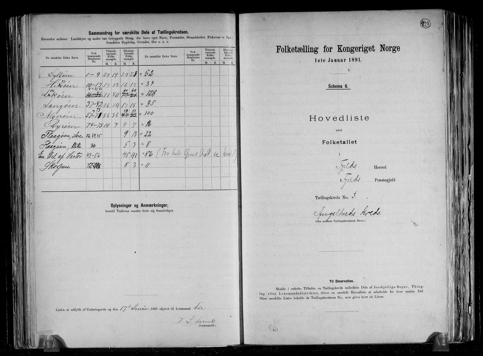 RA, Folketelling 1891 for 1246 Fjell herred, 1891, s. 11