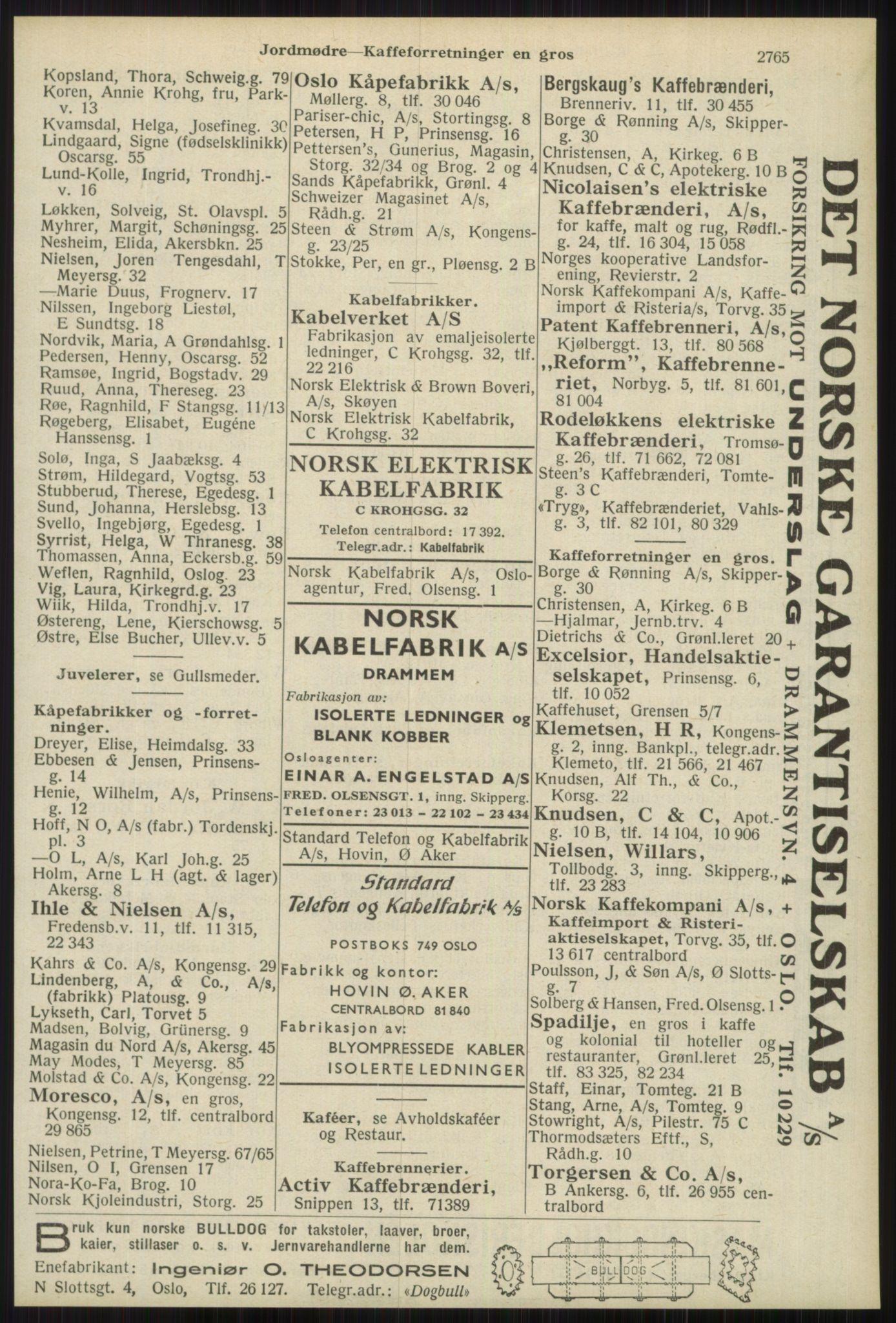 RA, Oslo adressebok (publikasjon)*, 1939, s. 2765