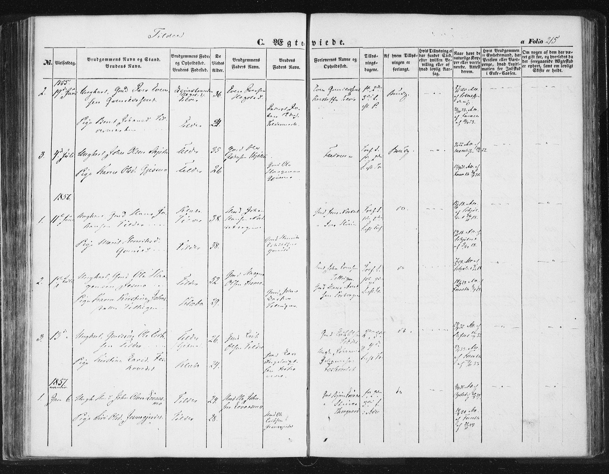SAT, Ministerialprotokoller, klokkerbøker og fødselsregistre - Sør-Trøndelag, 618/L0441: Ministerialbok nr. 618A05, 1843-1862, s. 215