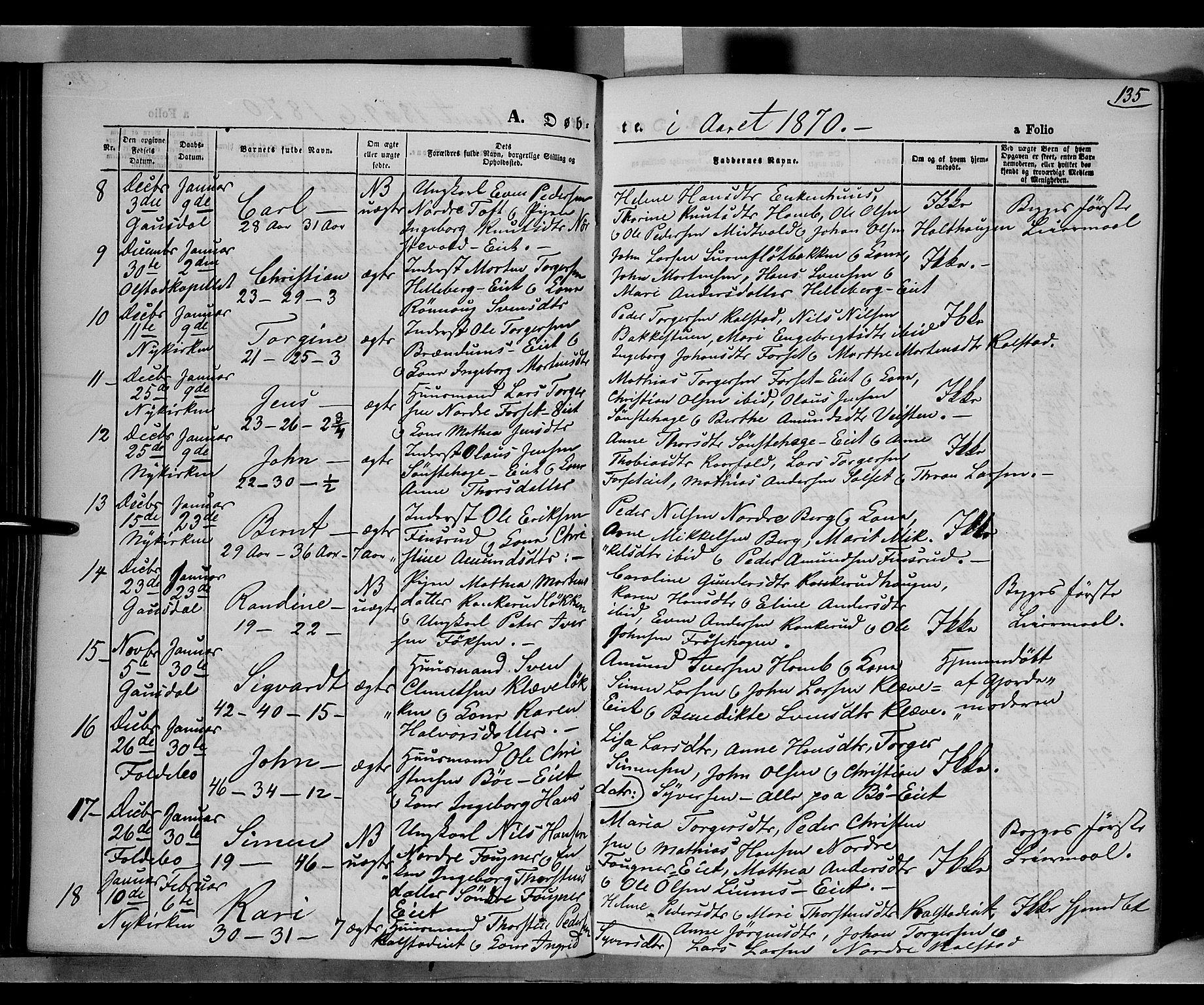 SAH, Gausdal prestekontor, Ministerialbok nr. 9, 1862-1873, s. 135
