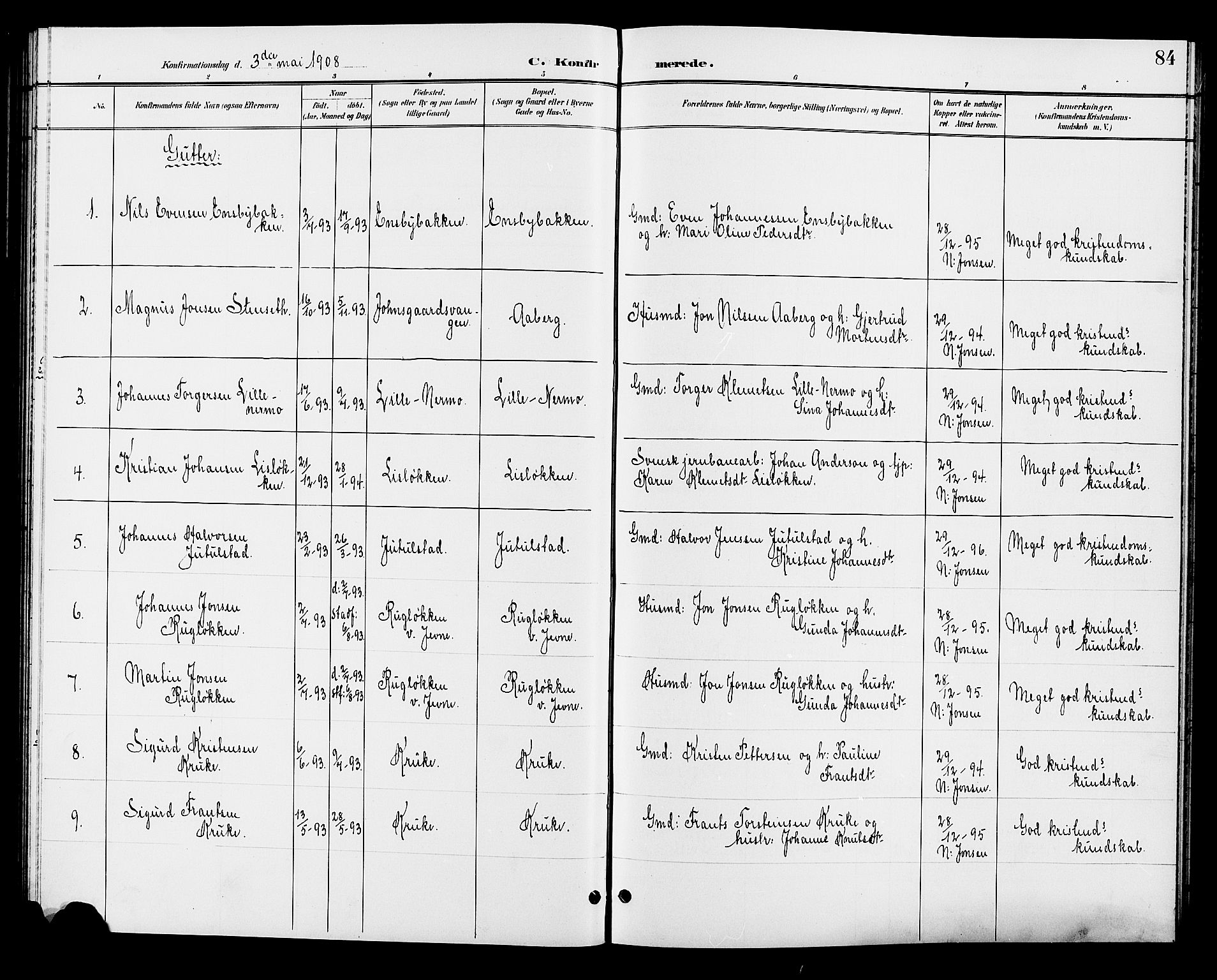 SAH, Øyer prestekontor, Klokkerbok nr. 5, 1897-1913, s. 84
