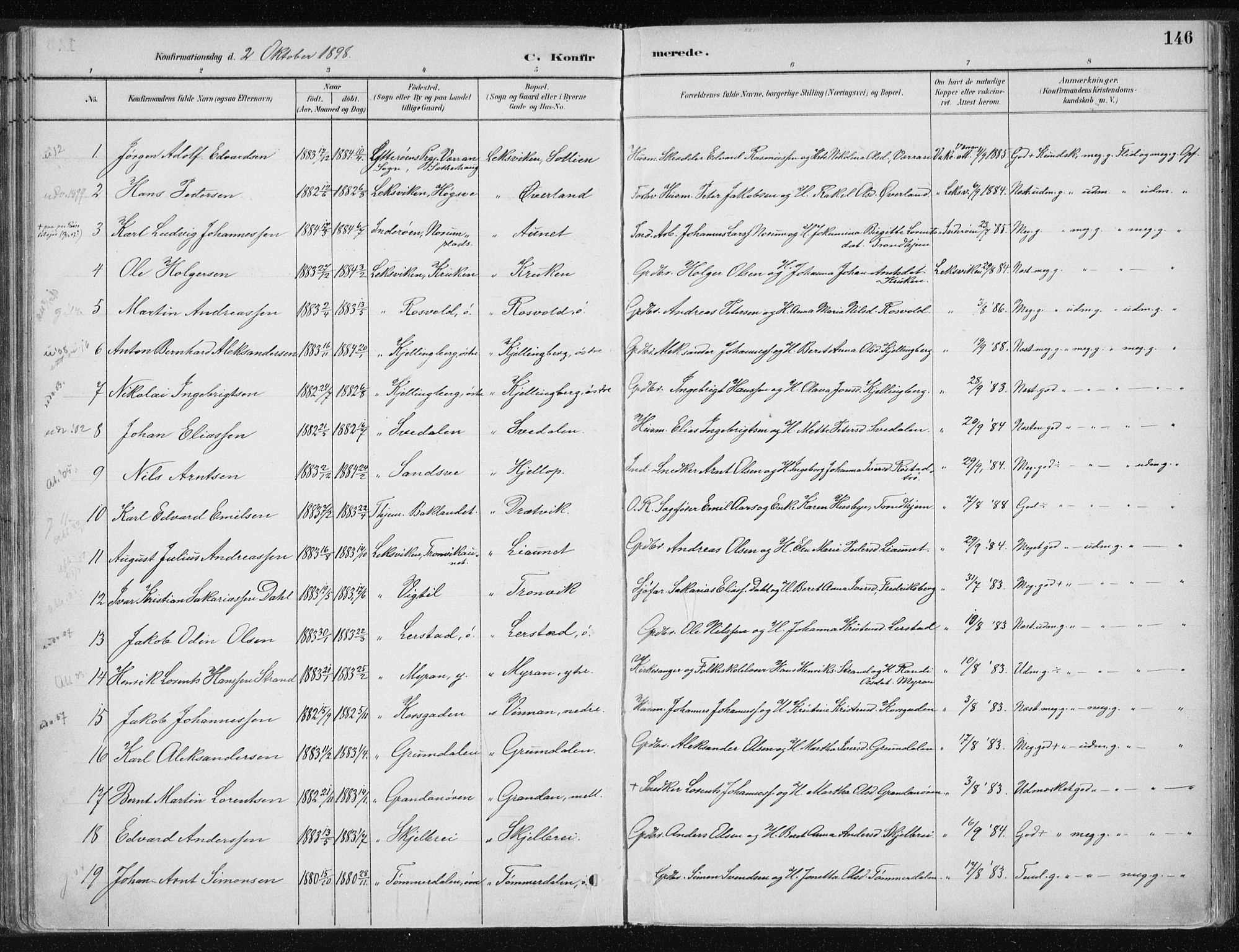 SAT, Ministerialprotokoller, klokkerbøker og fødselsregistre - Nord-Trøndelag, 701/L0010: Ministerialbok nr. 701A10, 1883-1899, s. 146