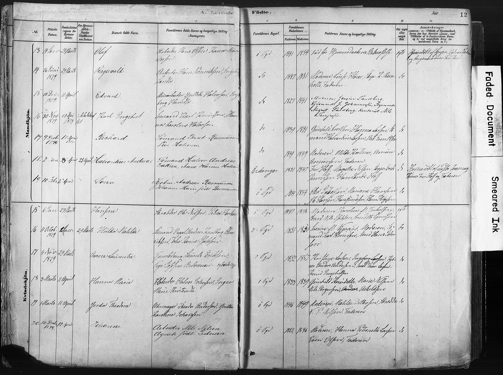 SAKO, Porsgrunn kirkebøker , F/Fa/L0008: Ministerialbok nr. 8, 1878-1895, s. 12