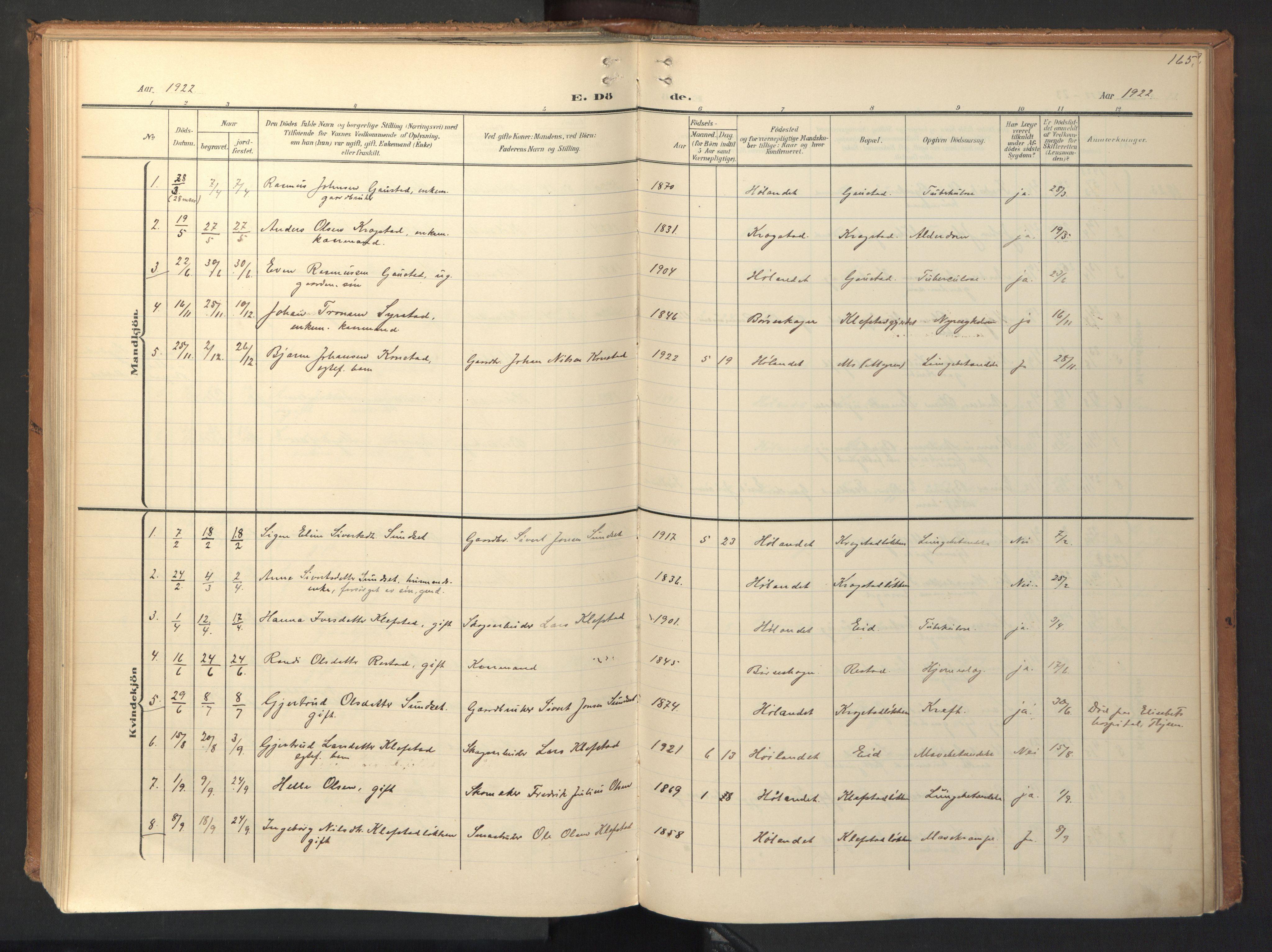 SAT, Ministerialprotokoller, klokkerbøker og fødselsregistre - Sør-Trøndelag, 694/L1128: Ministerialbok nr. 694A02, 1906-1931, s. 165
