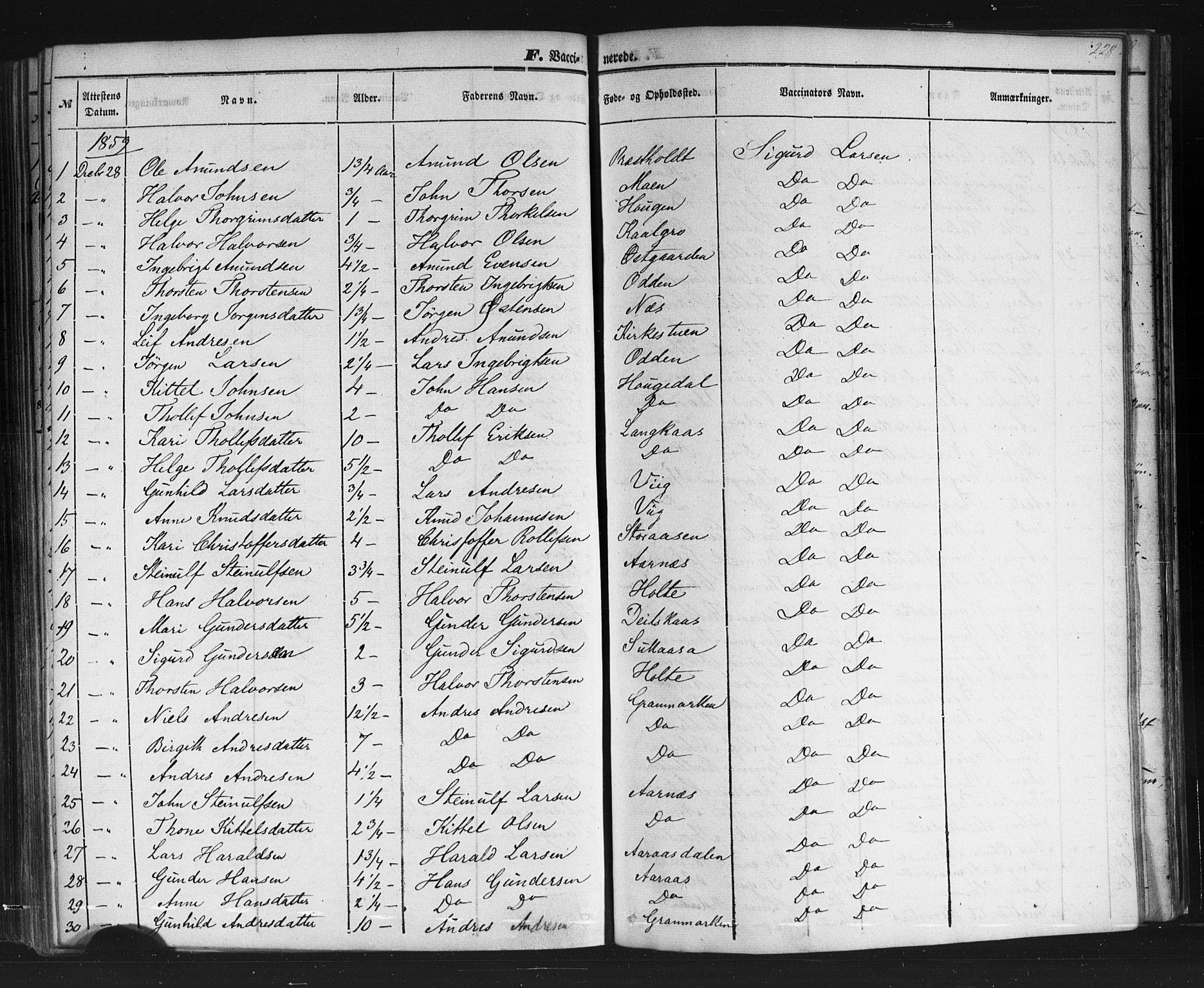 SAKO, Sauherad kirkebøker, F/Fb/L0001: Ministerialbok nr. II 1, 1851-1877, s. 228