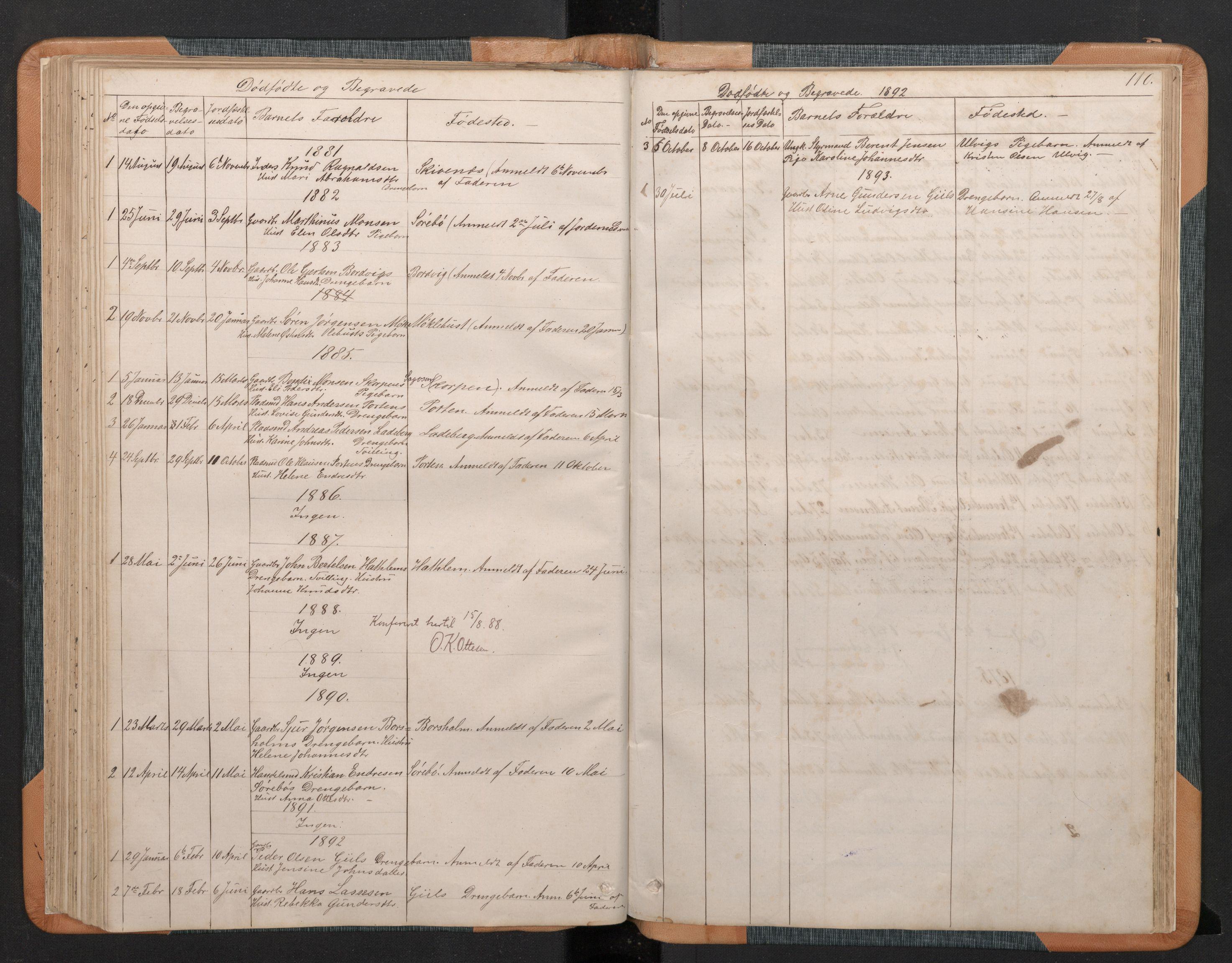SAB, Hyllestad Sokneprestembete, Klokkerbok nr. C 2, 1874-1894, s. 109b-110a
