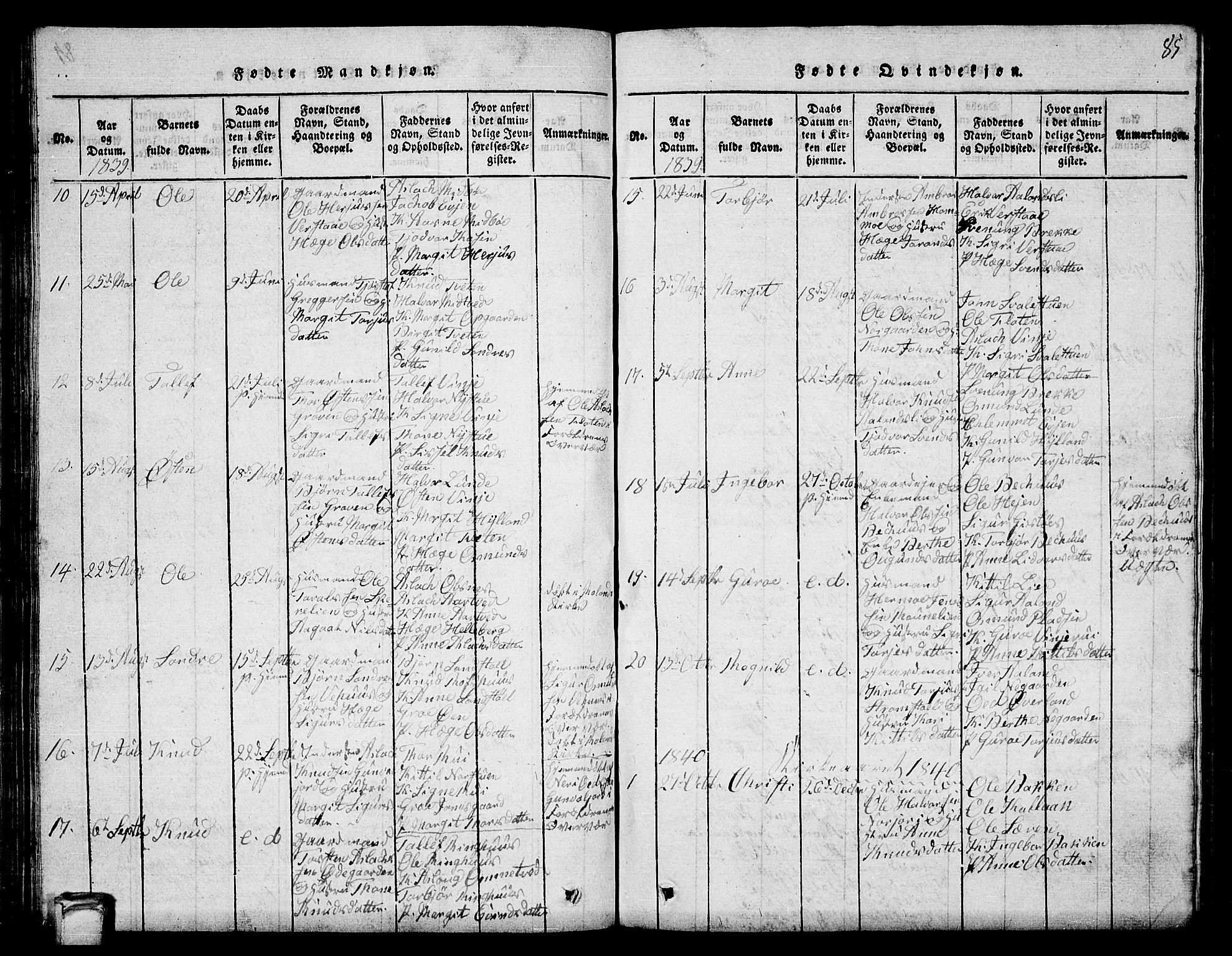 SAKO, Vinje kirkebøker, G/Ga/L0001: Klokkerbok nr. I 1, 1814-1843, s. 85