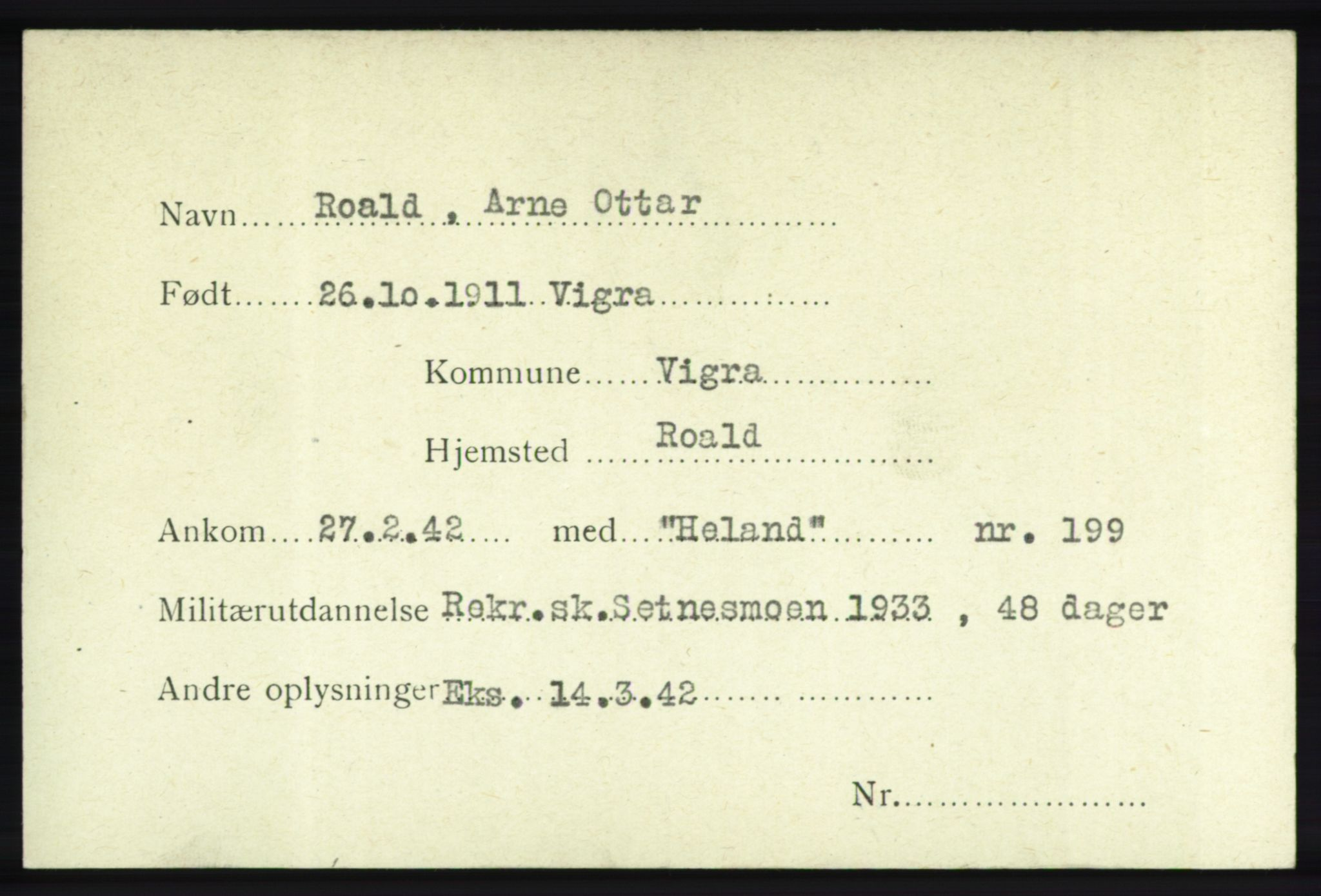 NHM, Forsvarets Overkommando. 2. kontor. Arkiv 8.1. Mottakersentralen FDE og FO.II, P/Pa/L0017: Kortsamling, 1940-1945
