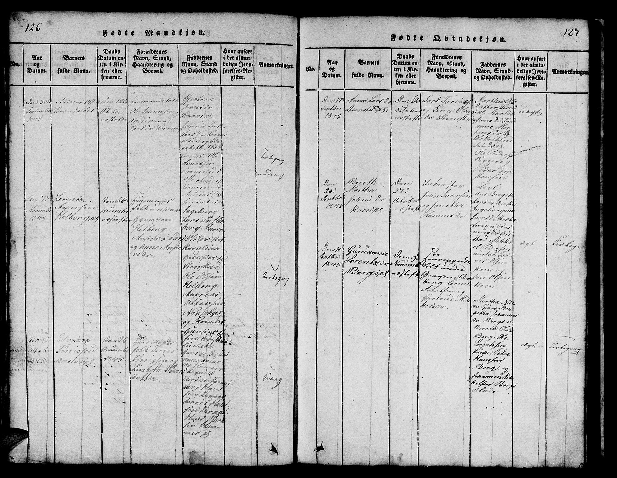 SAT, Ministerialprotokoller, klokkerbøker og fødselsregistre - Nord-Trøndelag, 731/L0310: Klokkerbok nr. 731C01, 1816-1874, s. 126-127