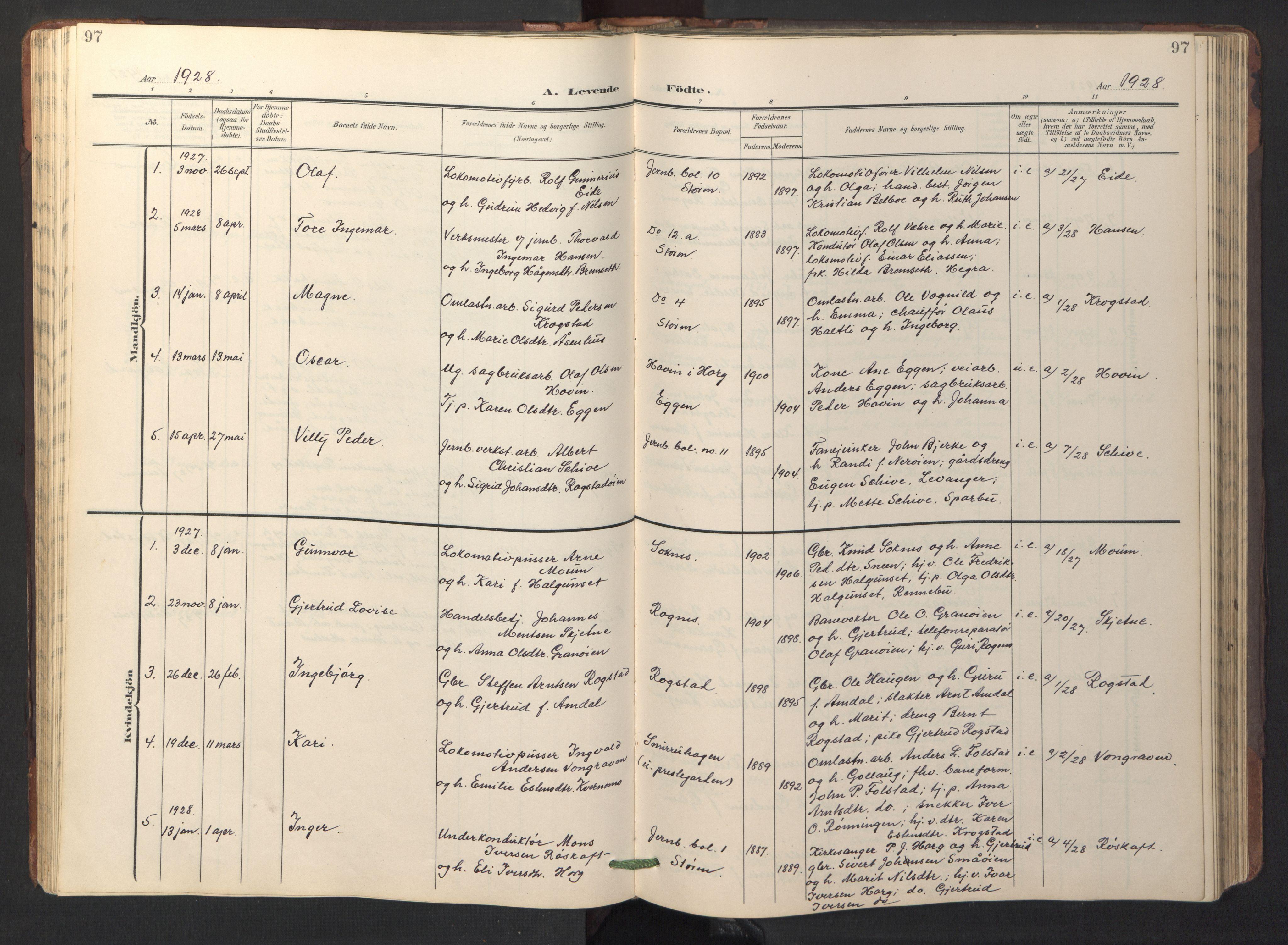 SAT, Ministerialprotokoller, klokkerbøker og fødselsregistre - Sør-Trøndelag, 687/L1019: Klokkerbok nr. 687C03, 1904-1931, s. 97