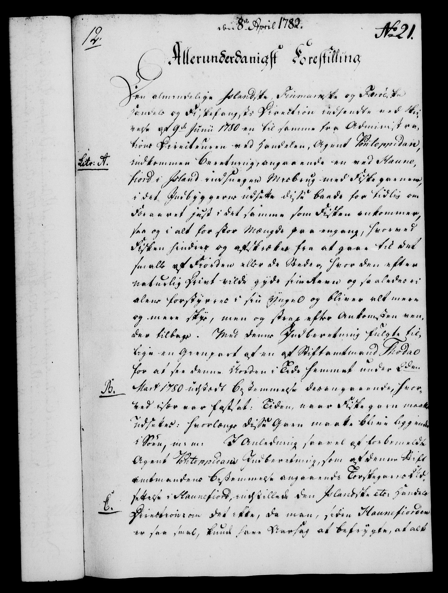 RA, Rentekammeret, Kammerkanselliet, G/Gf/Gfa/L0064: Norsk relasjons- og resolusjonsprotokoll (merket RK 52.64), 1782, s. 184