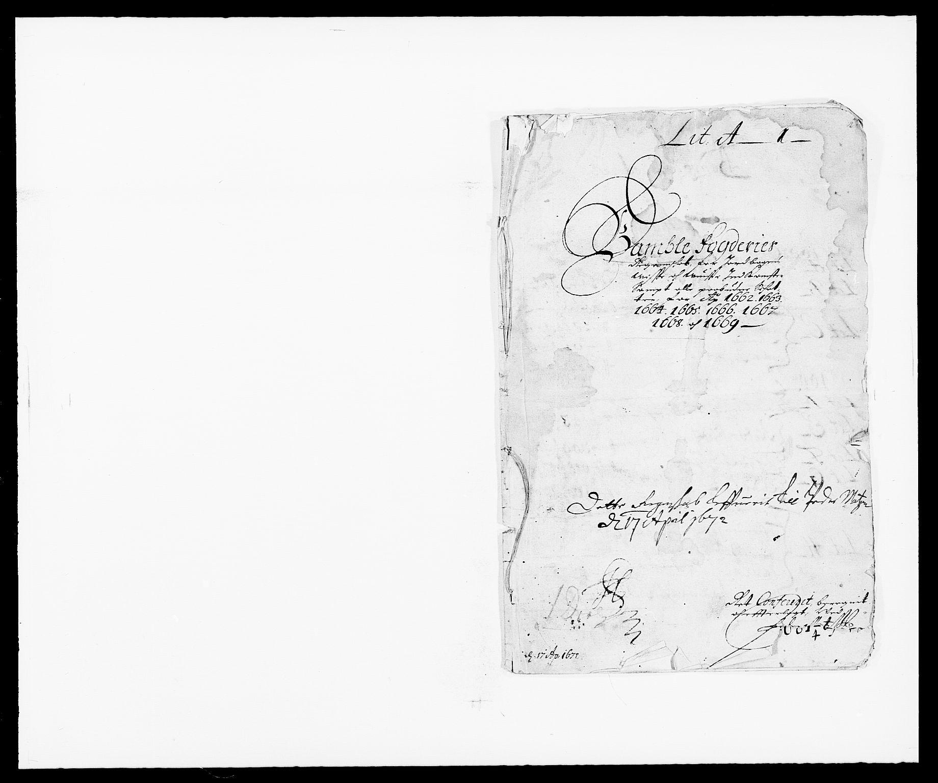 RA, Rentekammeret inntil 1814, Reviderte regnskaper, Fogderegnskap, R34/L2037: Fogderegnskap Bamble, 1662-1669, s. 1