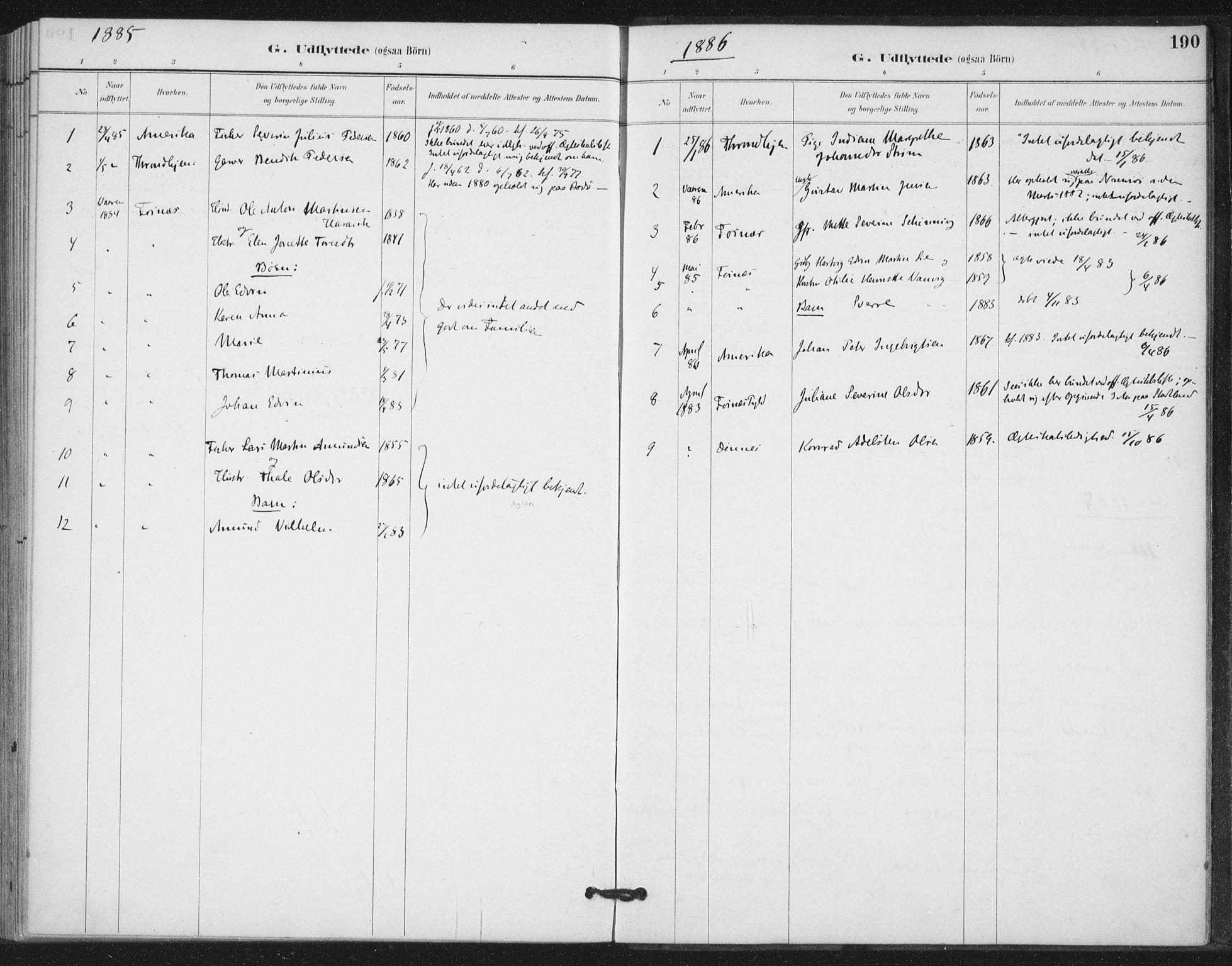 SAT, Ministerialprotokoller, klokkerbøker og fødselsregistre - Nord-Trøndelag, 772/L0603: Ministerialbok nr. 772A01, 1885-1912, s. 190