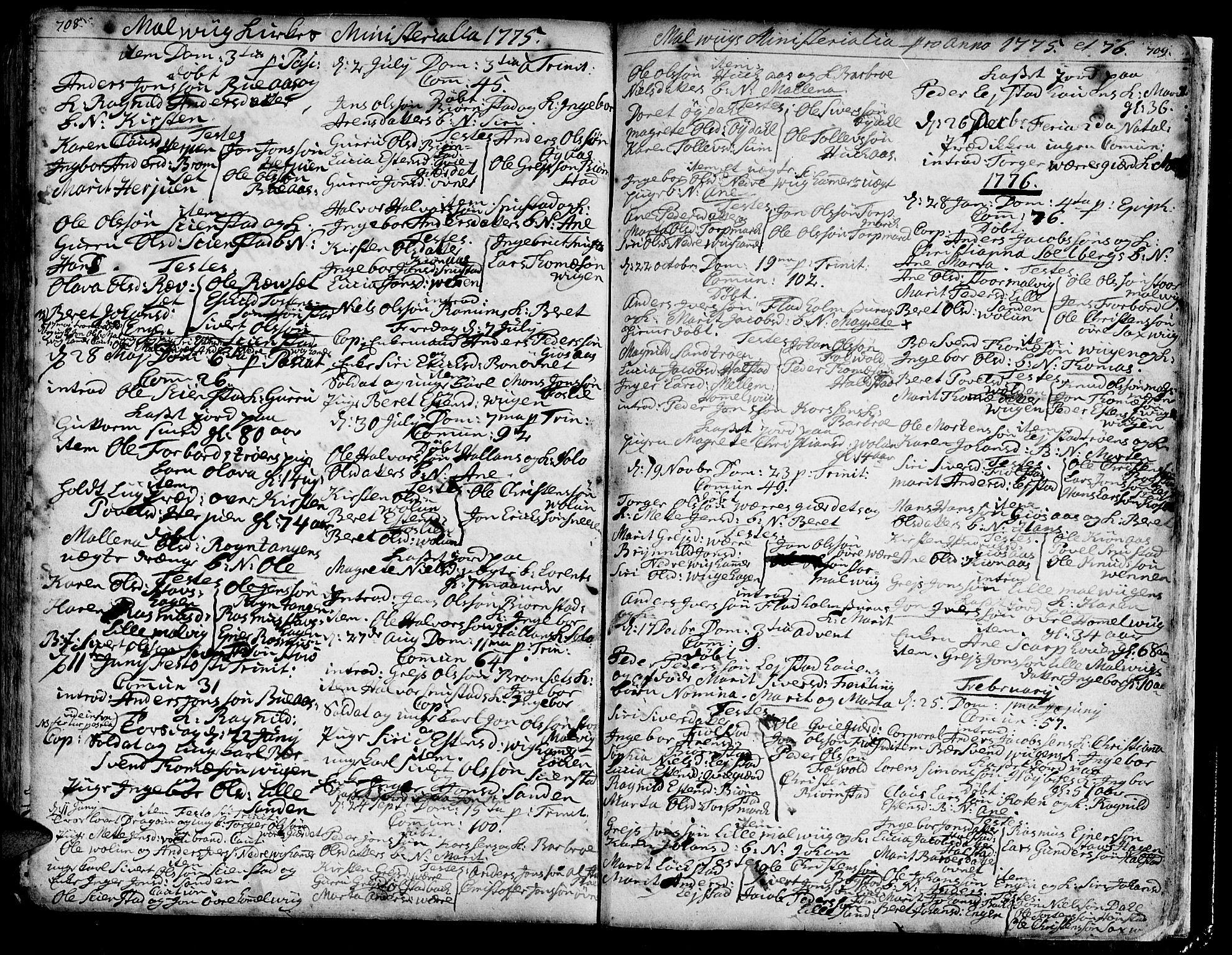 SAT, Ministerialprotokoller, klokkerbøker og fødselsregistre - Sør-Trøndelag, 606/L0277: Ministerialbok nr. 606A01 /3, 1727-1780, s. 708-709