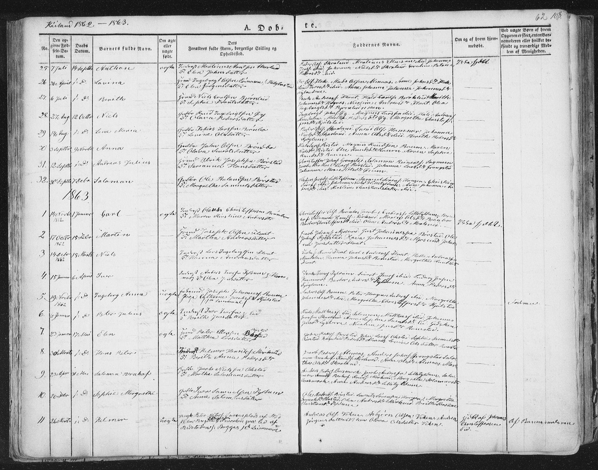 SAT, Ministerialprotokoller, klokkerbøker og fødselsregistre - Nord-Trøndelag, 758/L0513: Ministerialbok nr. 758A02 /2, 1839-1868, s. 62