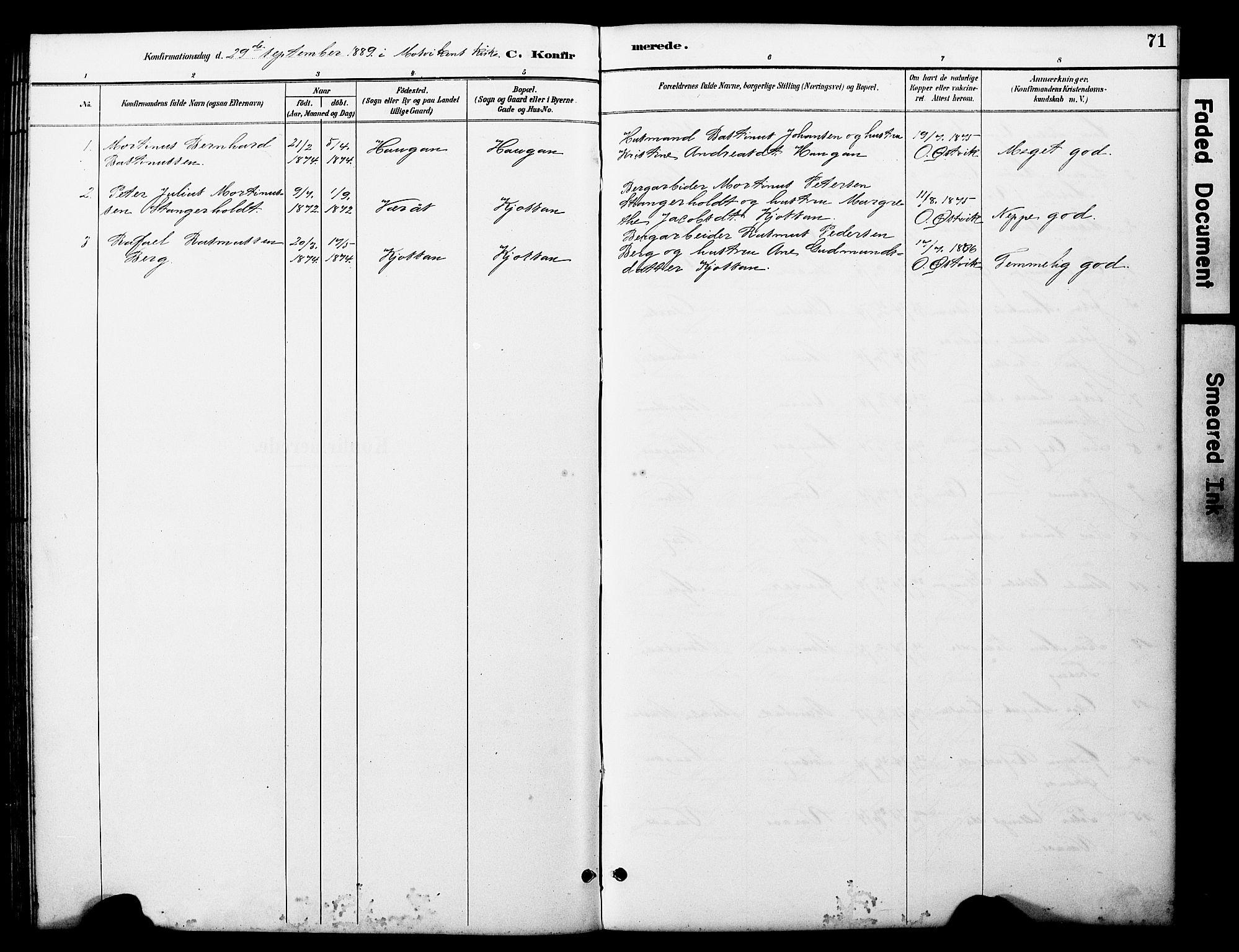 SAT, Ministerialprotokoller, klokkerbøker og fødselsregistre - Nord-Trøndelag, 722/L0226: Klokkerbok nr. 722C02, 1889-1927, s. 71