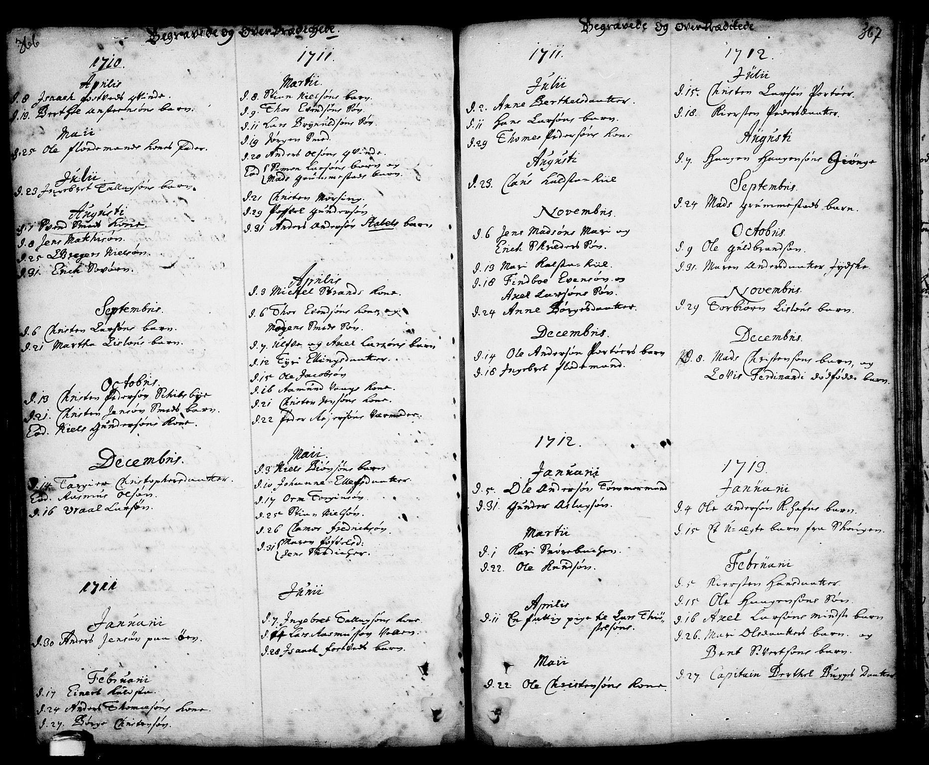SAKO, Kragerø kirkebøker, F/Fa/L0001: Ministerialbok nr. 1, 1702-1766, s. 366-367