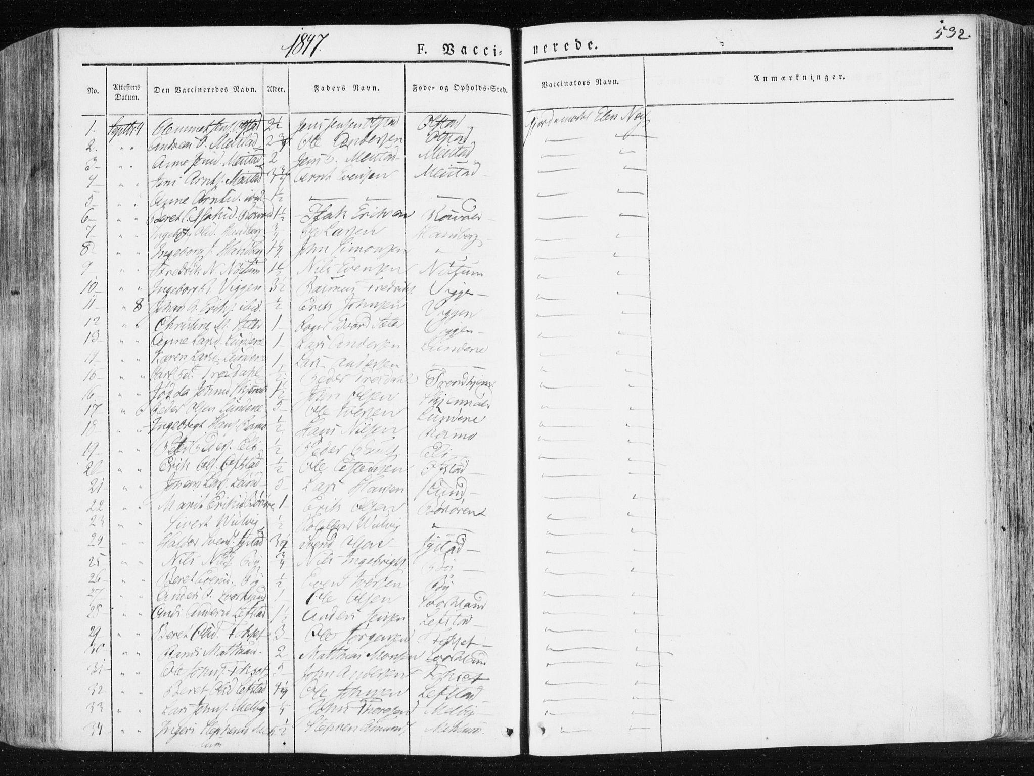 SAT, Ministerialprotokoller, klokkerbøker og fødselsregistre - Sør-Trøndelag, 665/L0771: Ministerialbok nr. 665A06, 1830-1856, s. 532