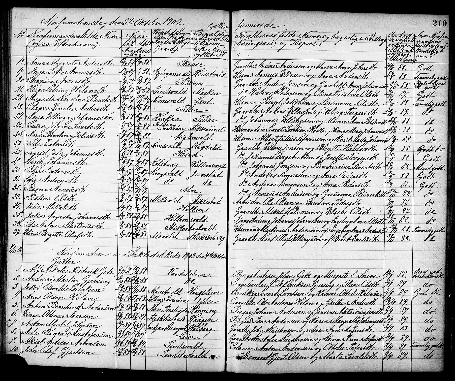 SAT, Ministerialprotokoller, klokkerbøker og fødselsregistre - Nord-Trøndelag, 723/L0257: Klokkerbok nr. 723C05, 1890-1907, s. 210