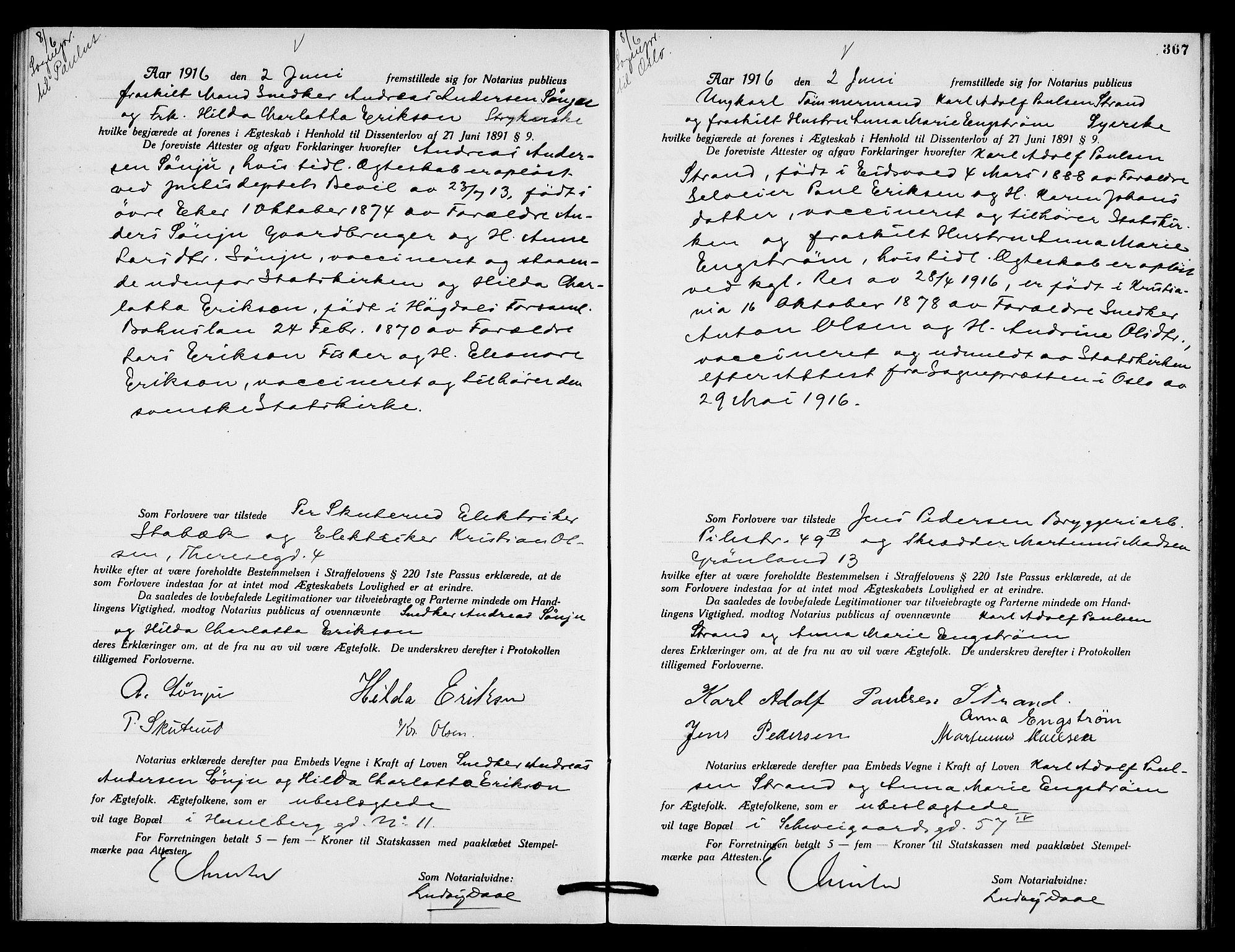 SAO, Oslo byfogd avd. I, L/Lb/Lbb/L0010: Notarialprotokoll, rekke II: Vigsler, 1914-1916, s. 466b-467a