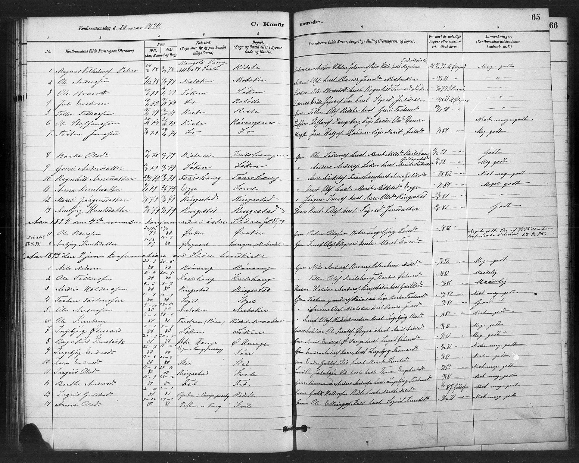 SAH, Vestre Slidre prestekontor, Klokkerbok nr. 6, 1881-1915, s. 65
