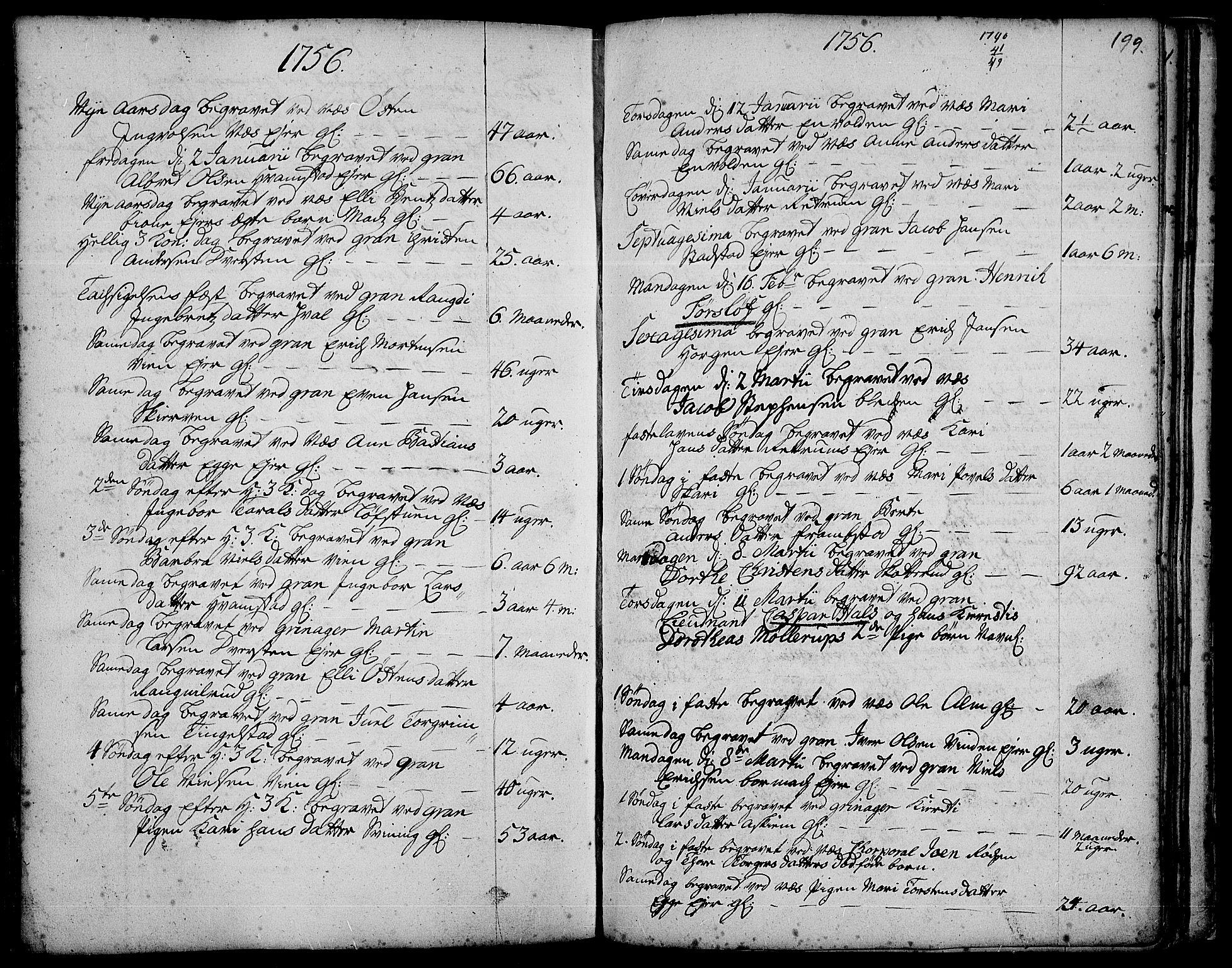 SAH, Gran prestekontor, Ministerialbok nr. 3, 1745-1758, s. 199
