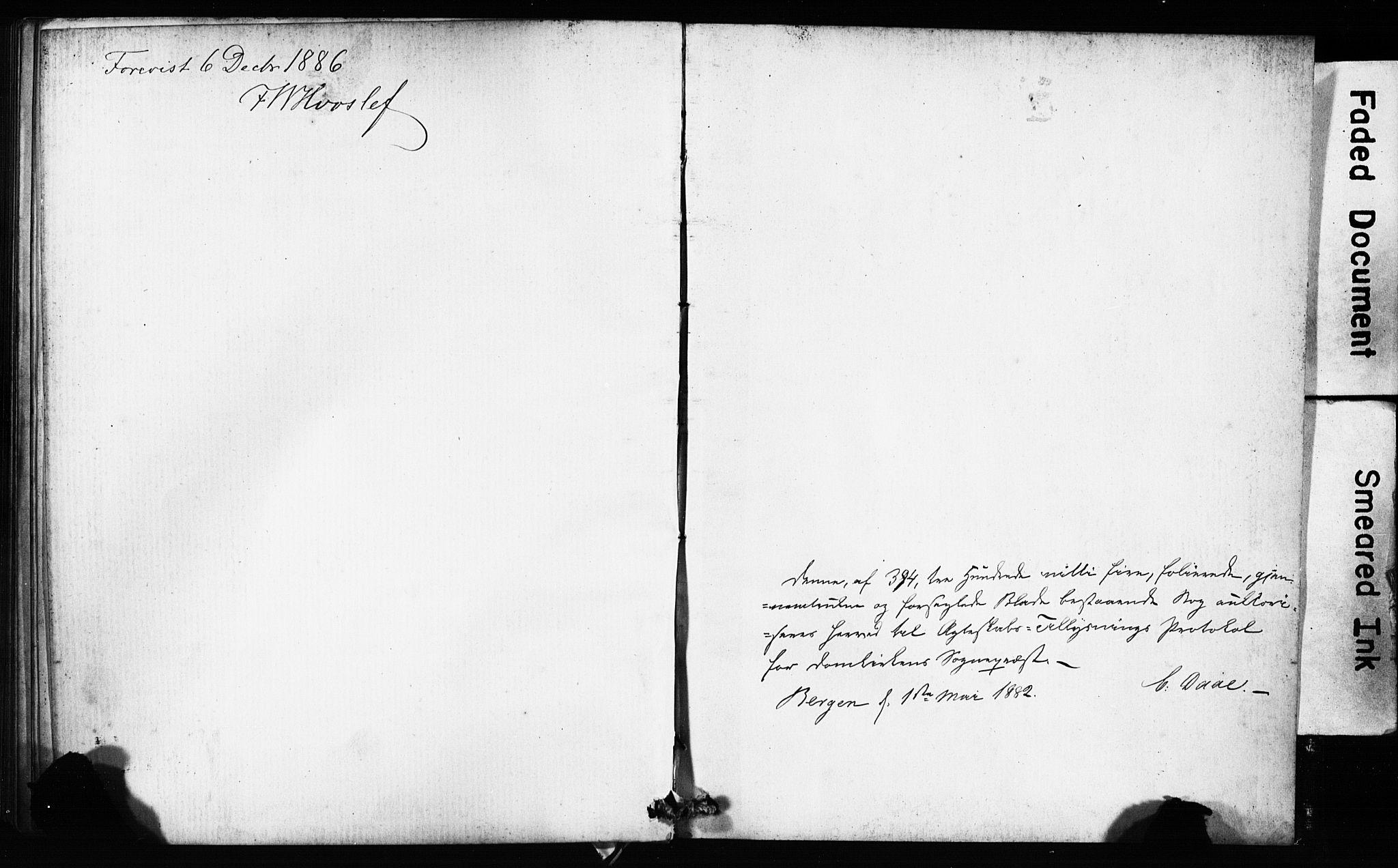 SAB, Domkirken Sokneprestembete, Forlovererklæringer nr. II.5.9, 1882-1889