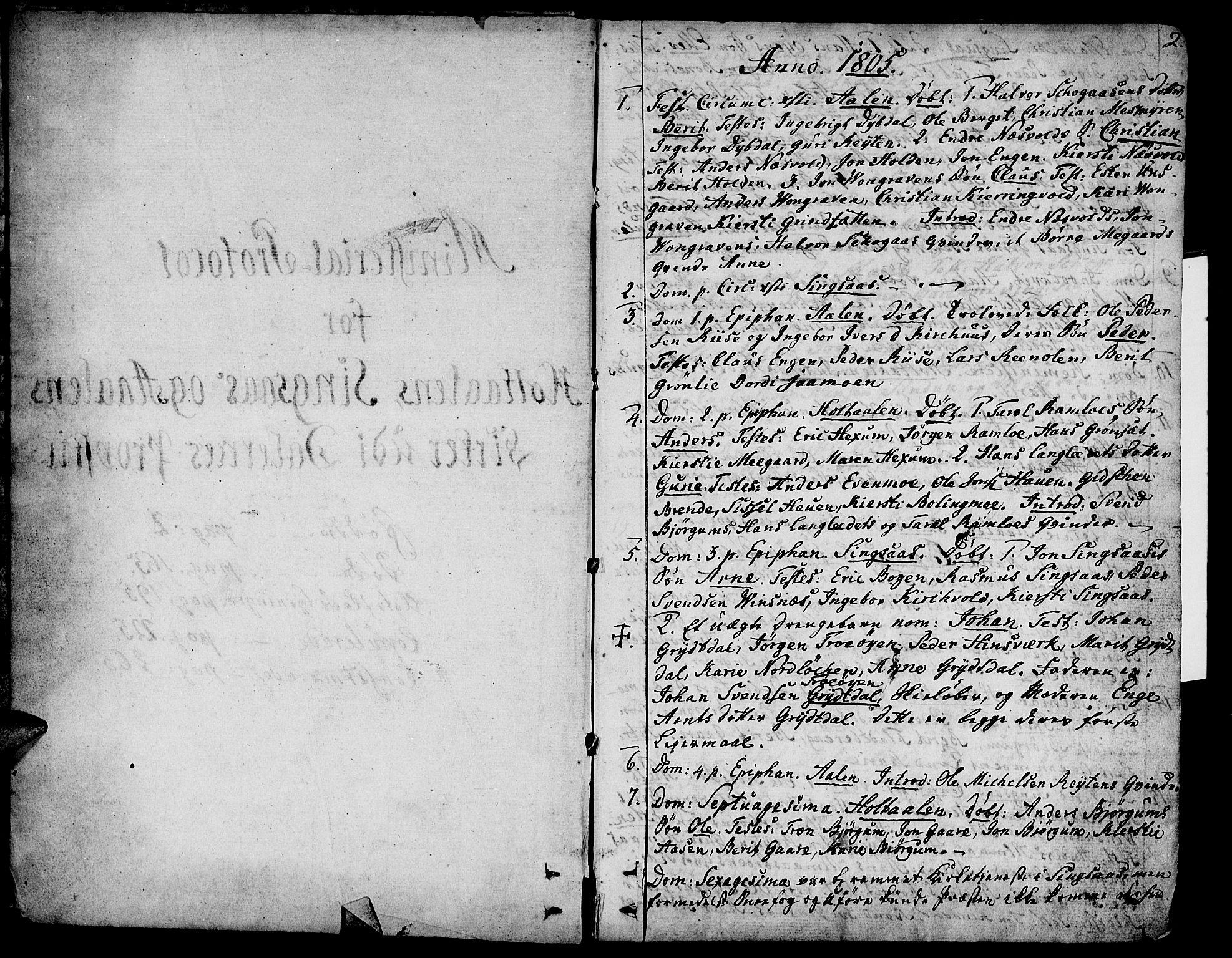 SAT, Ministerialprotokoller, klokkerbøker og fødselsregistre - Sør-Trøndelag, 685/L0953: Ministerialbok nr. 685A02, 1805-1816, s. 2