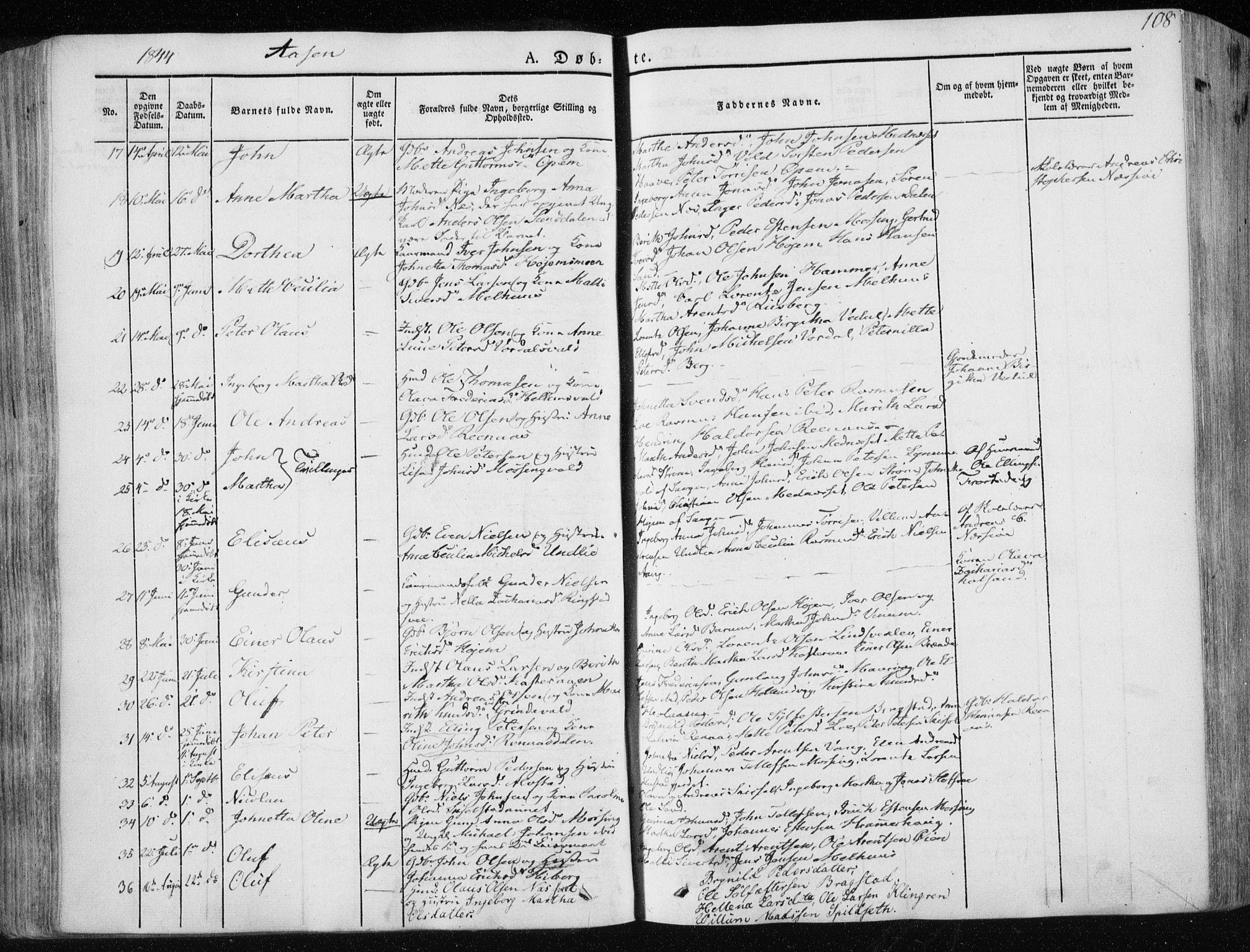 SAT, Ministerialprotokoller, klokkerbøker og fødselsregistre - Nord-Trøndelag, 713/L0115: Ministerialbok nr. 713A06, 1838-1851, s. 108