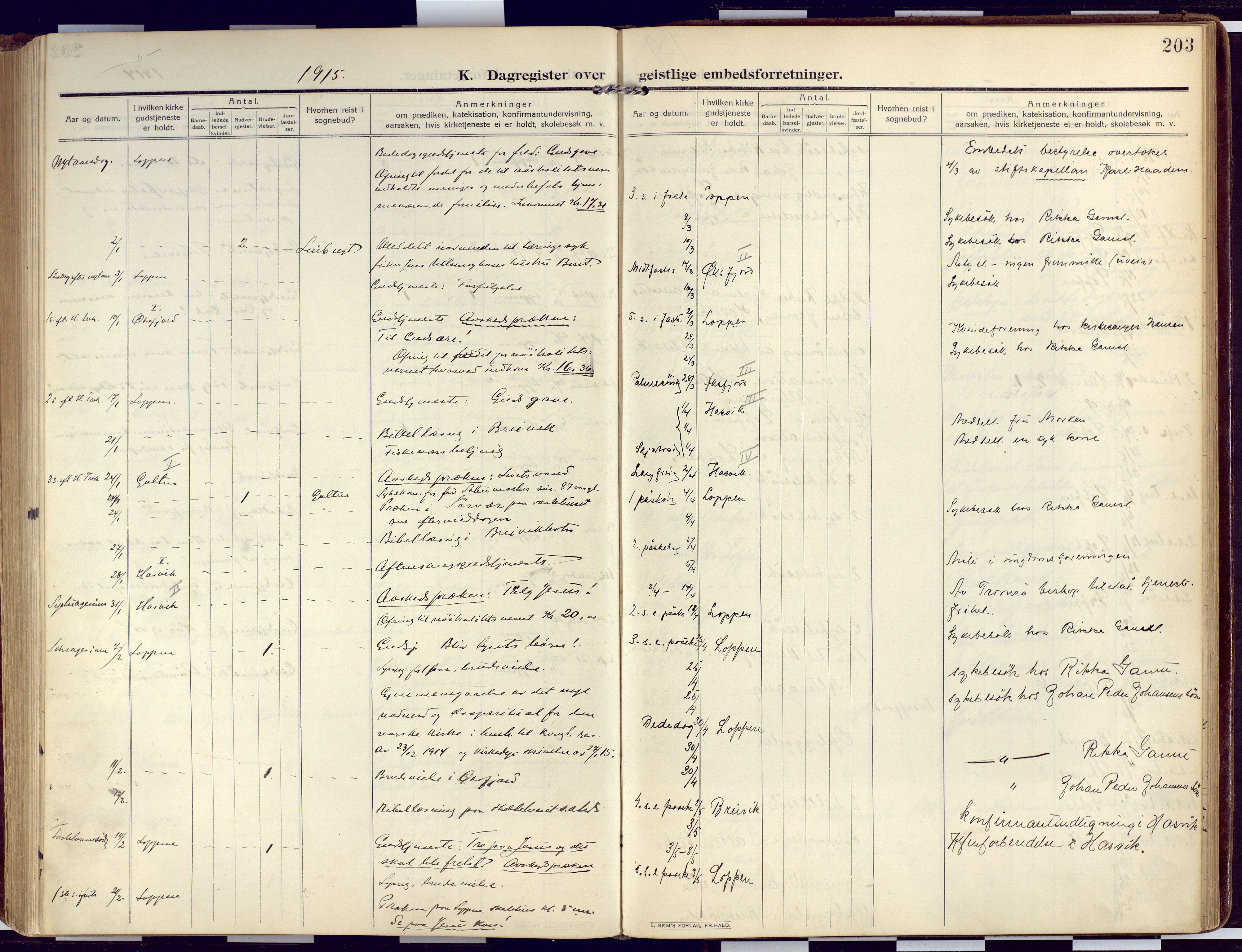 SATØ, Loppa sokneprestkontor, H/Ha/L0011kirke: Ministerialbok nr. 11, 1909-1919, s. 203