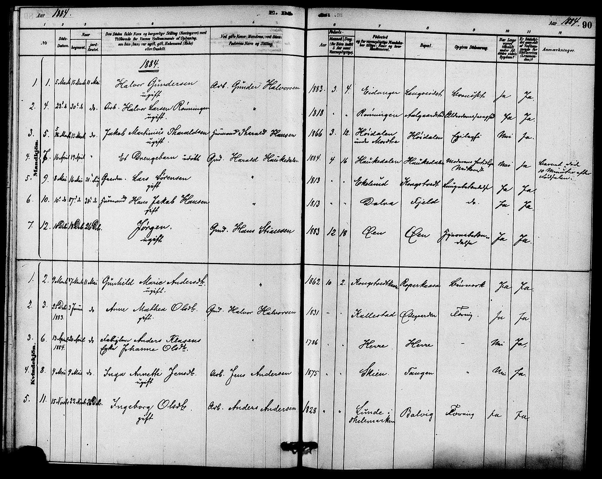 SAKO, Solum kirkebøker, F/Fc/L0001: Ministerialbok nr. III 1, 1877-1891, s. 90