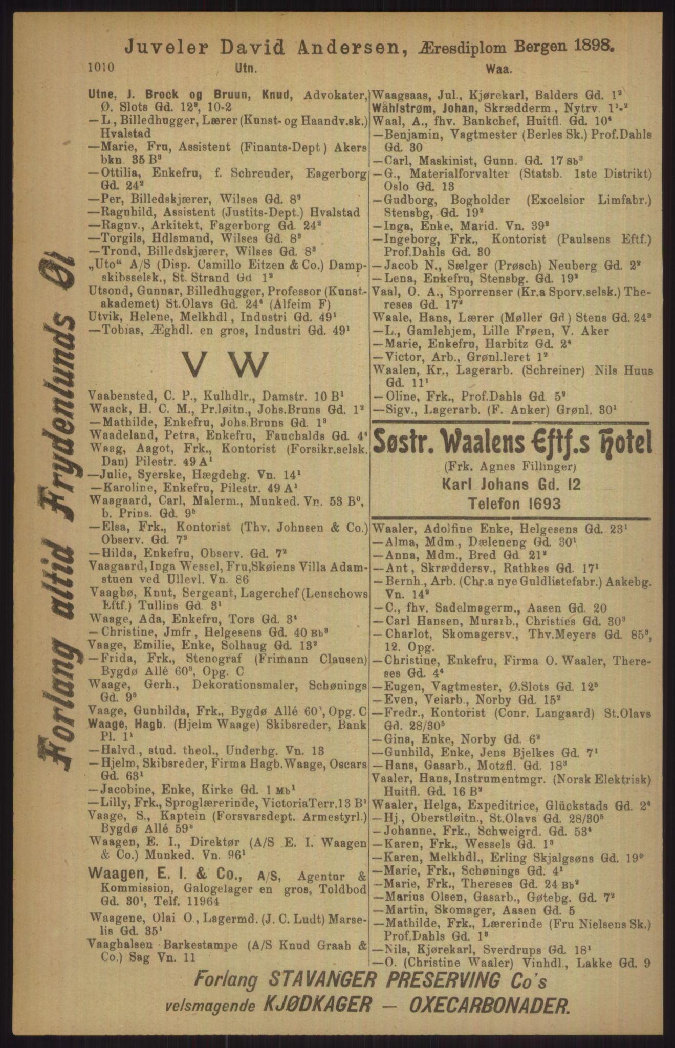 RA, Kristiania adressebok (publikasjon)*, 1911, s. 1010