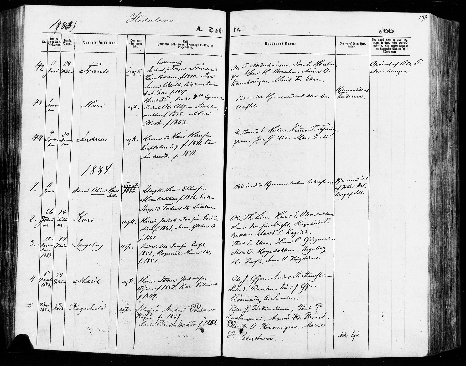 SAH, Vågå prestekontor, Ministerialbok nr. 7 /2, 1873-1886, s. 198
